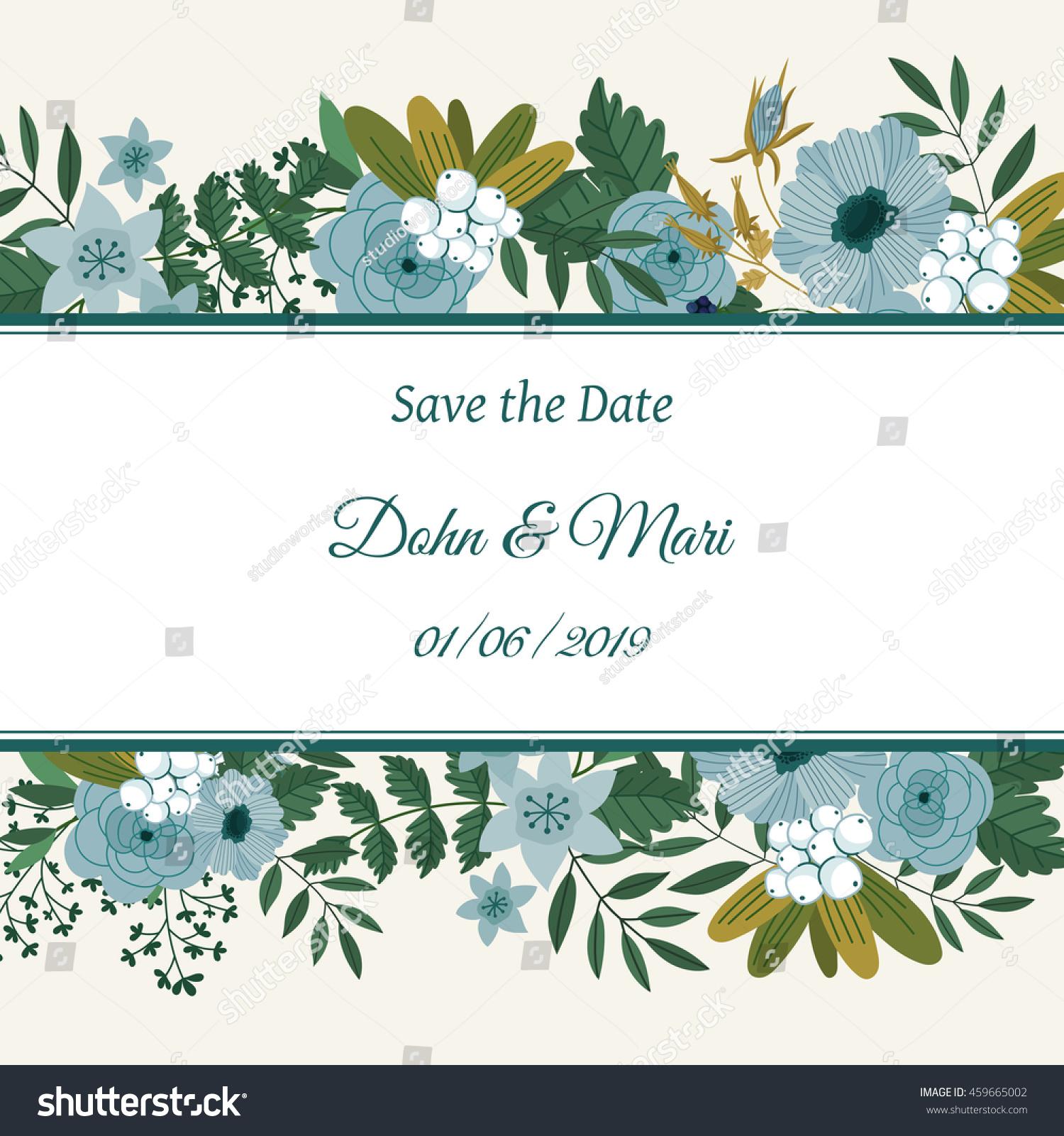 Cute wedding invitation template celebration on stock vector cute wedding invitation template to celebration on card with flower decoration vector illustration monicamarmolfo Images