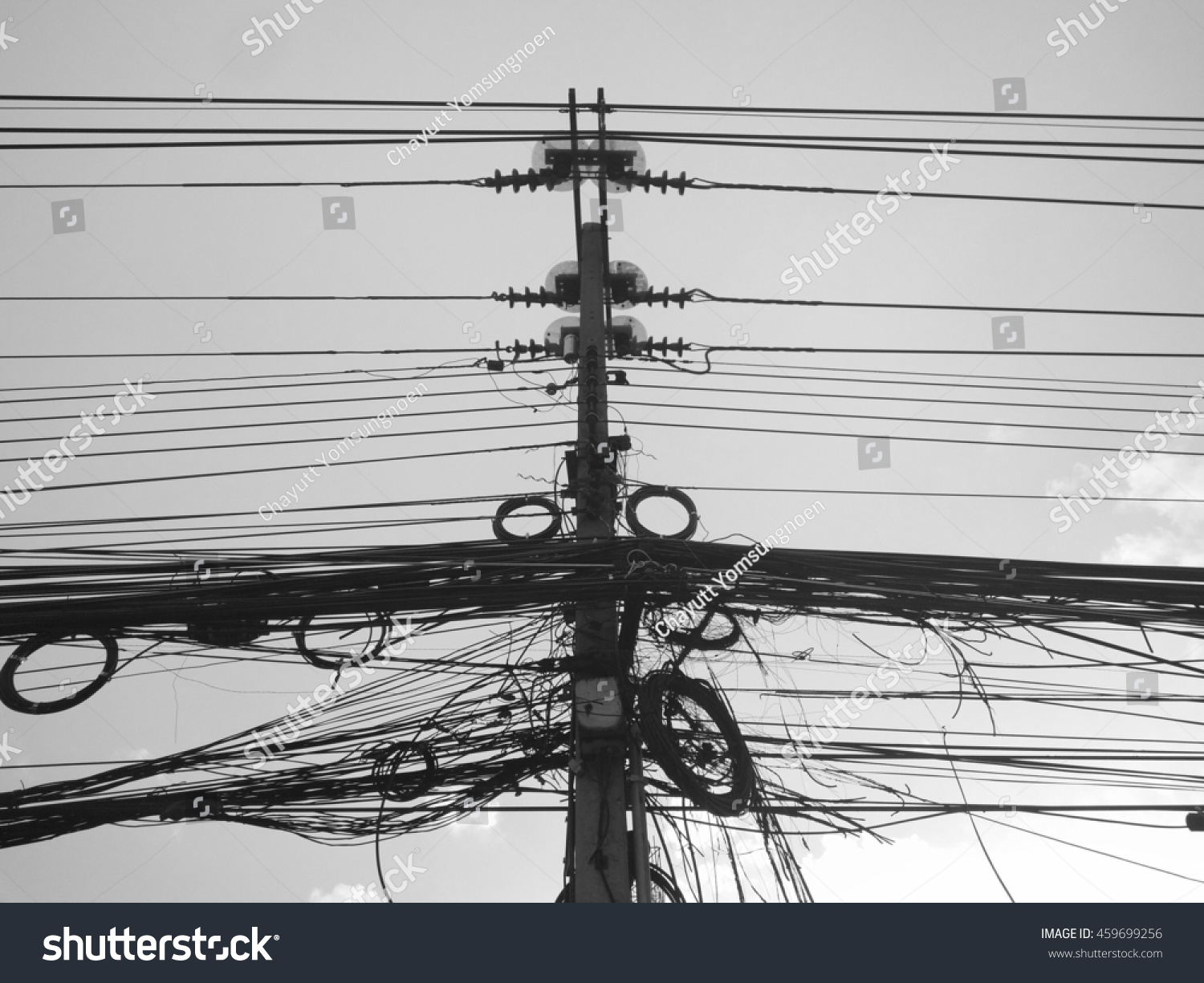 Black White Electric Pole Many Wire Stock Photo (Royalty Free ...