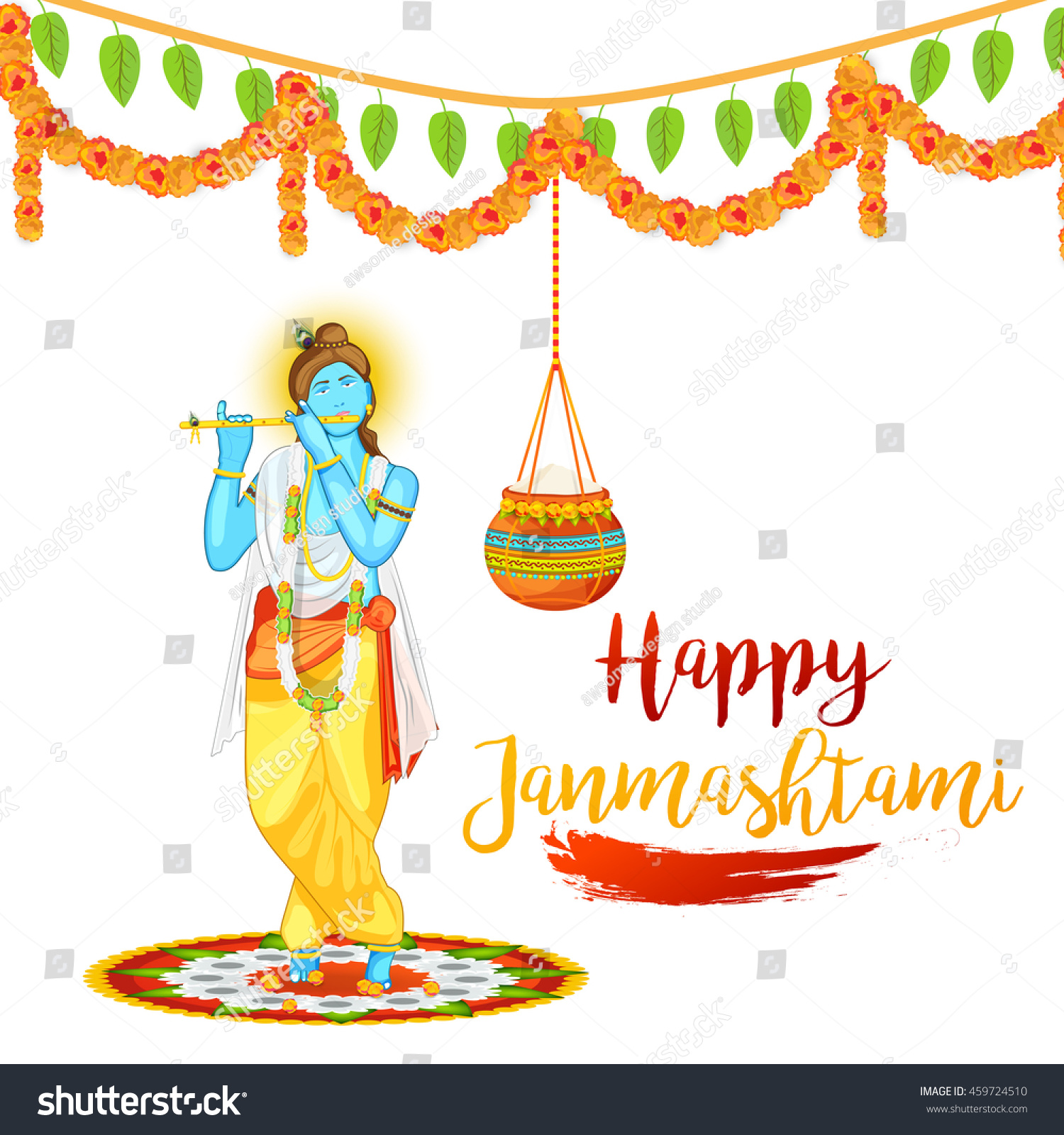 Creative illustration poster or banner for indian festival of janmashtami celebration
