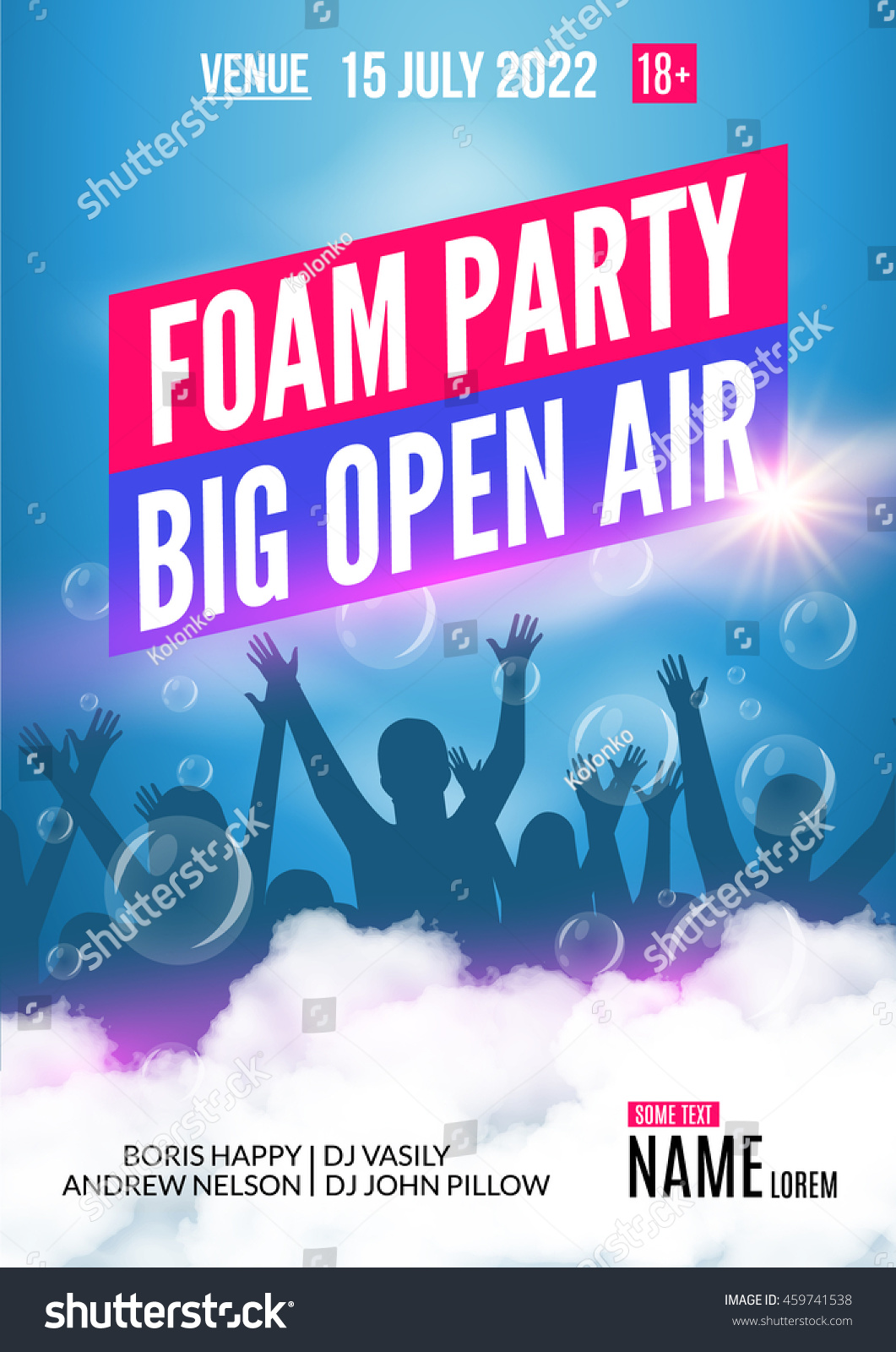 foam party summer open air foam stock vector royalty free