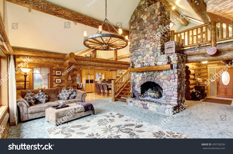 bright living room interior american log stock photo 459758236