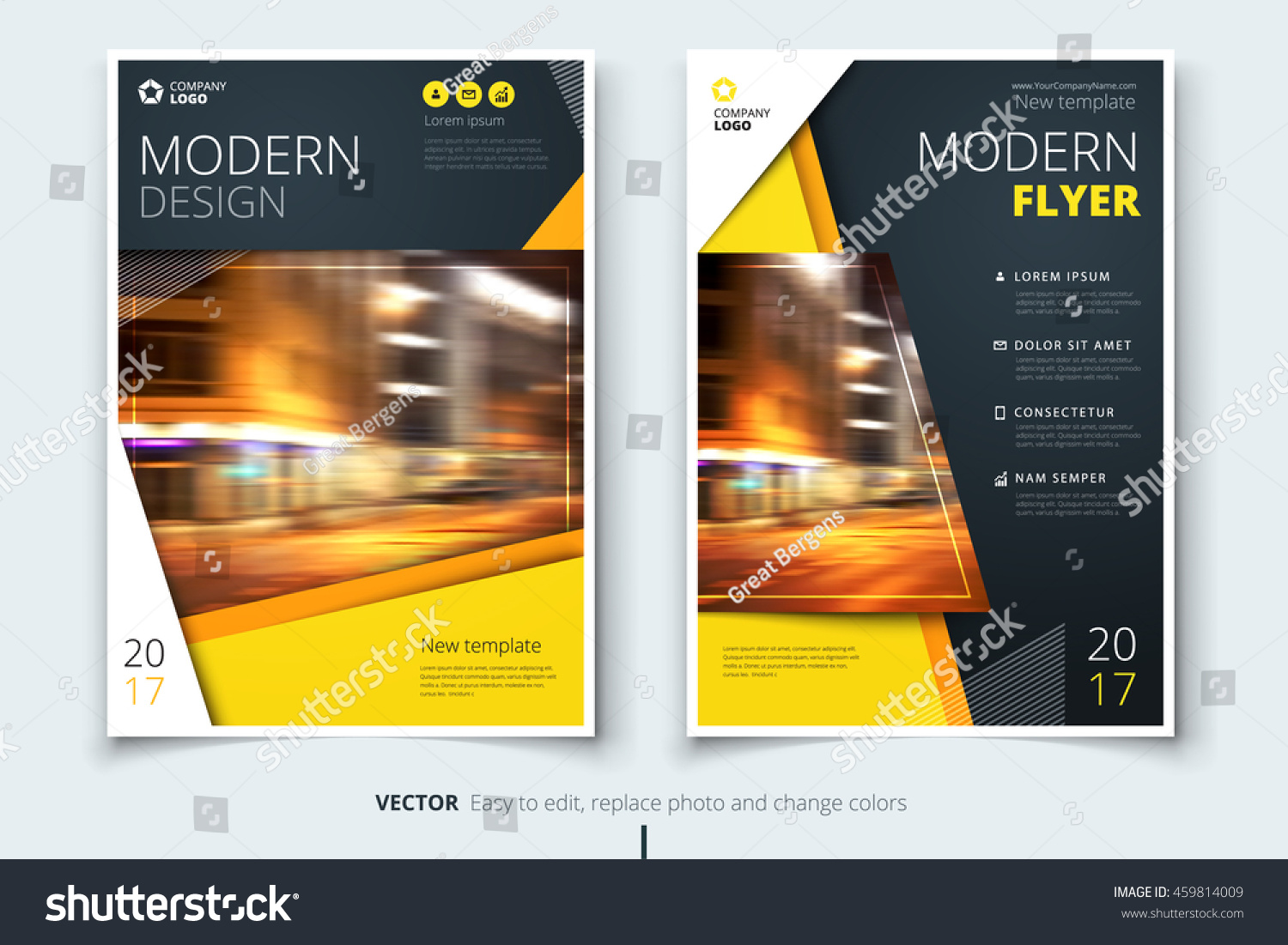Yellow modern flyer design corporate business stock vector for Modern brochure design templates