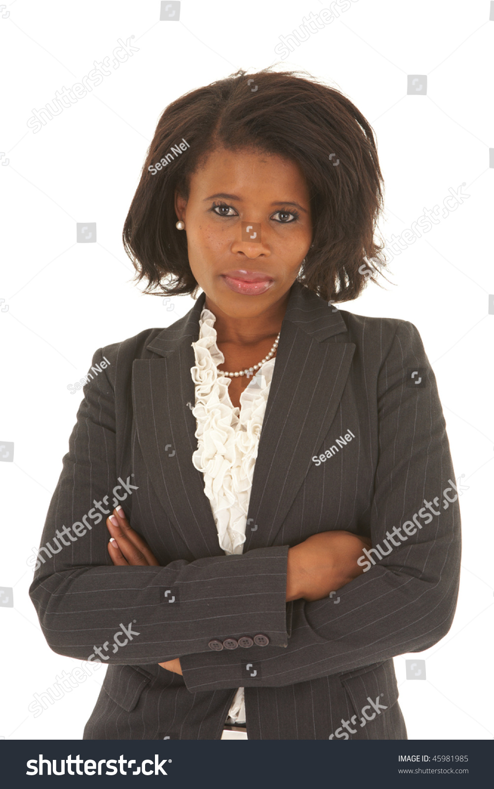 Beautiful African Businesswoman Short Hair Black Stock Photo Edit Now 45981985