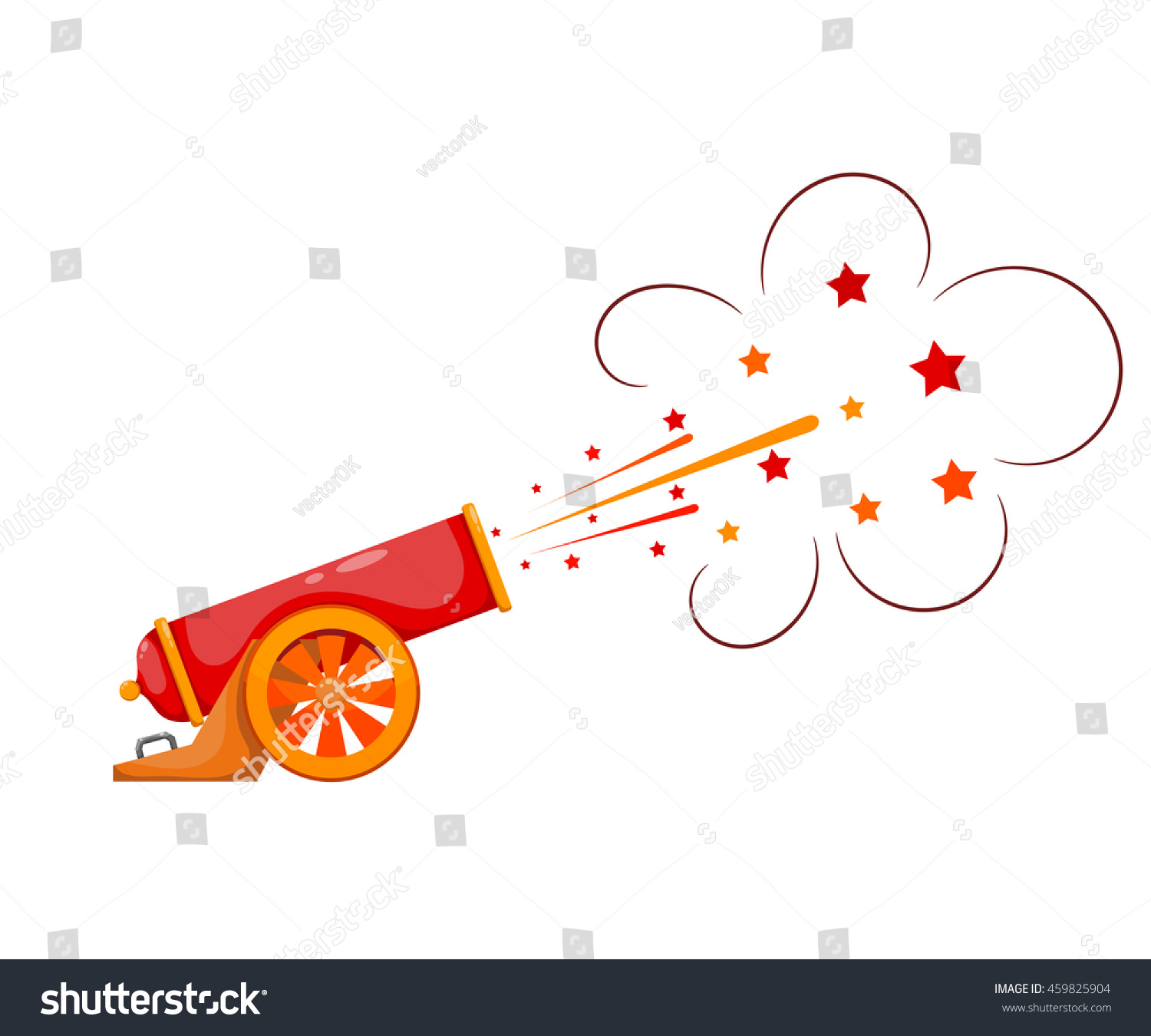 vintage gun color image of medieval cannon firing on a white background cartoon style