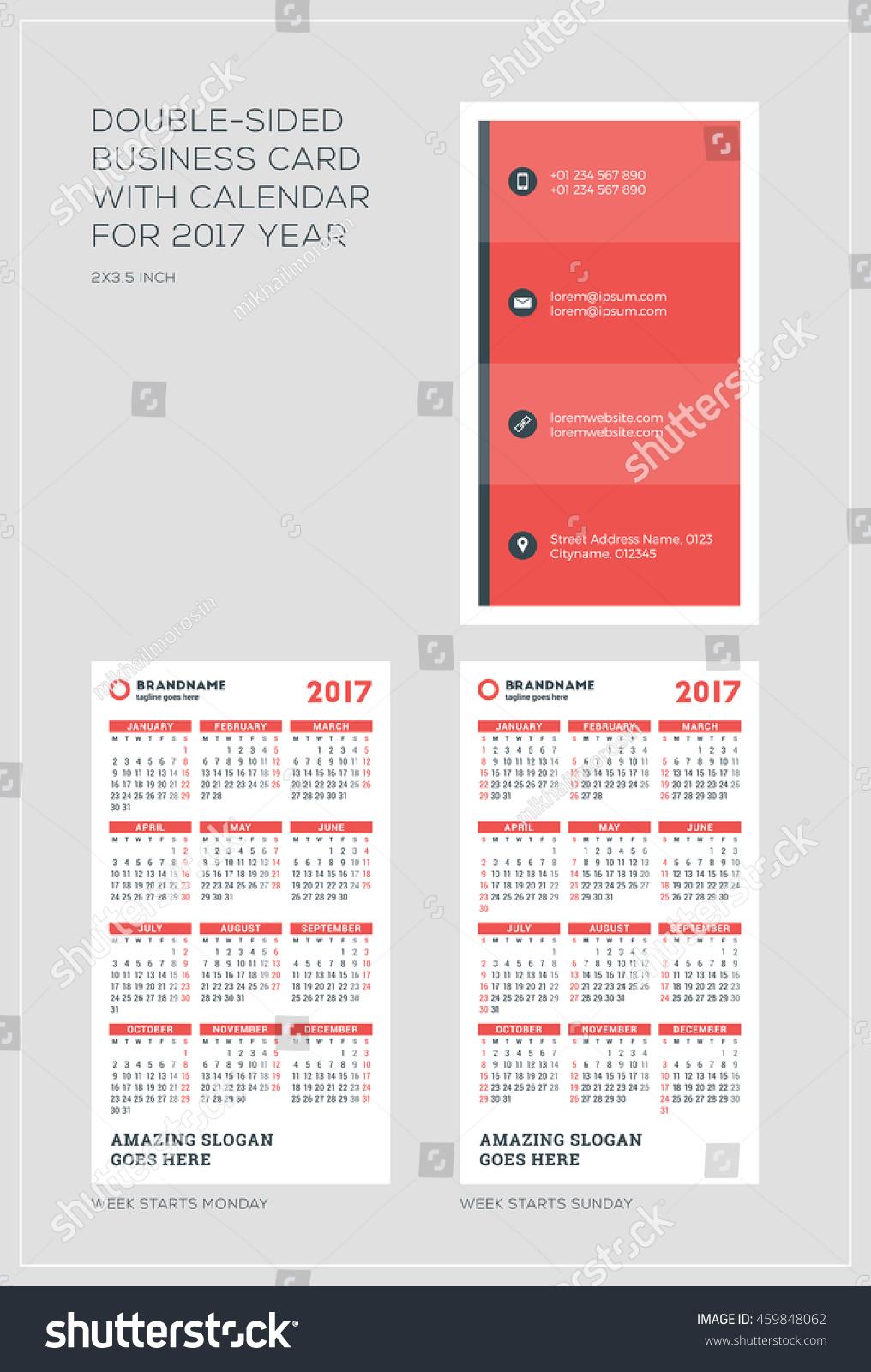 Doublesided Vertical Business Card Template Calendar Stock Vector ...