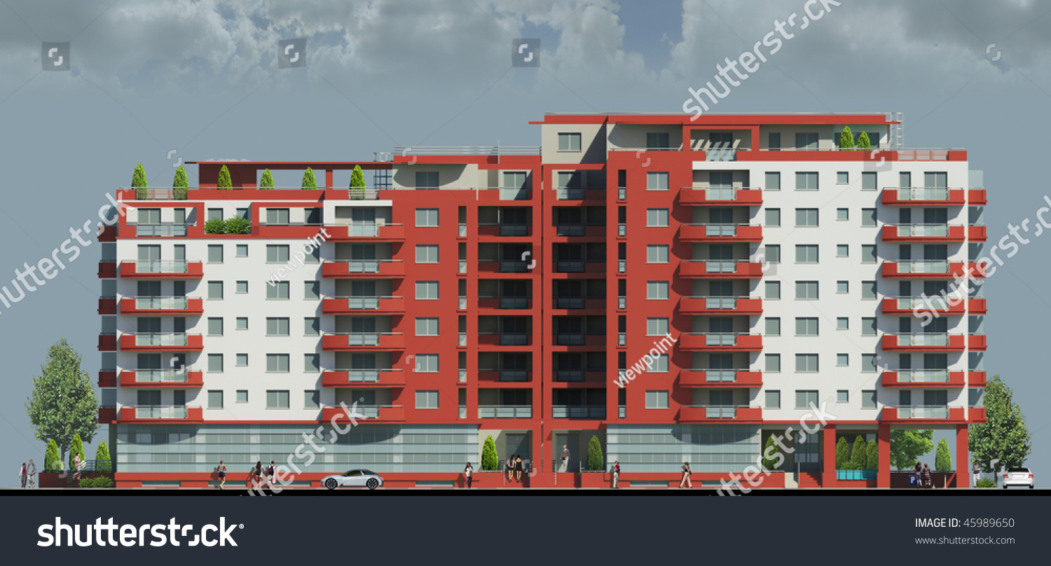 Apartment Building Front apartments building front view stock illustration 45989650