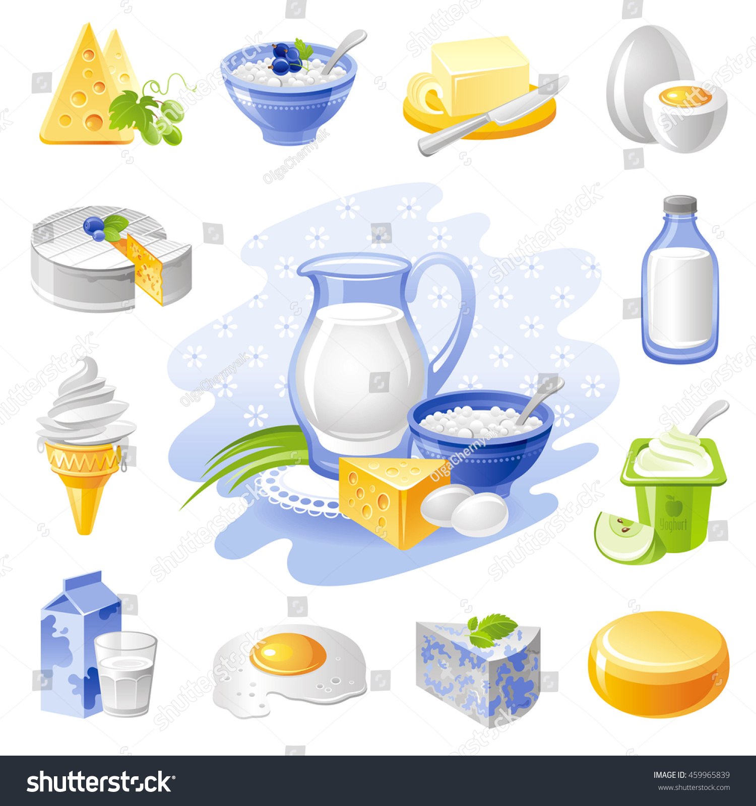 Vector Illustration Of Dairy Products Farm Food With Cheese Cottage Butter Egg