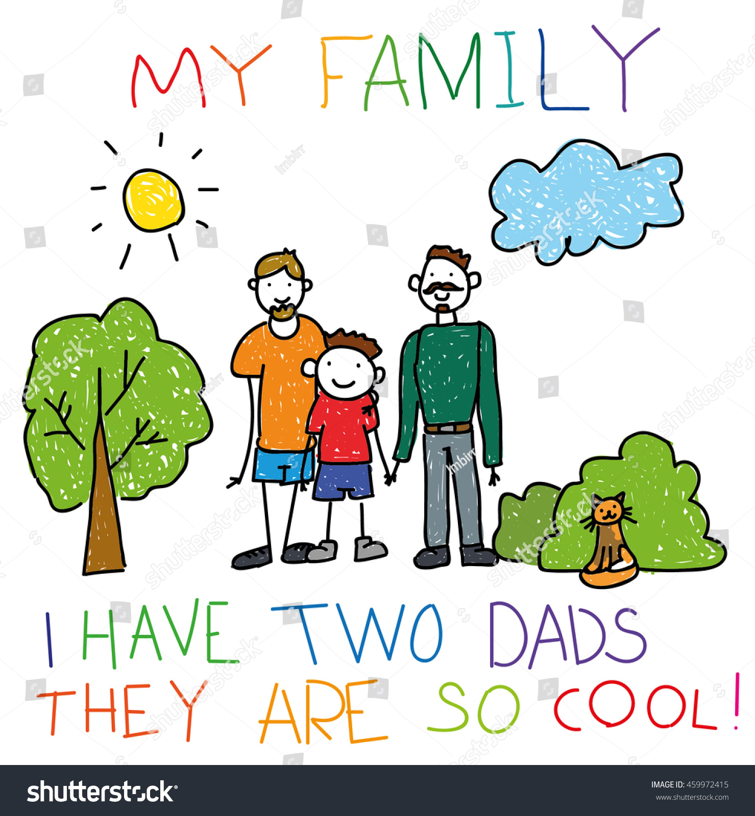 Hand-drawn childish happy gay couple with child, children hand drawing  style, doodle