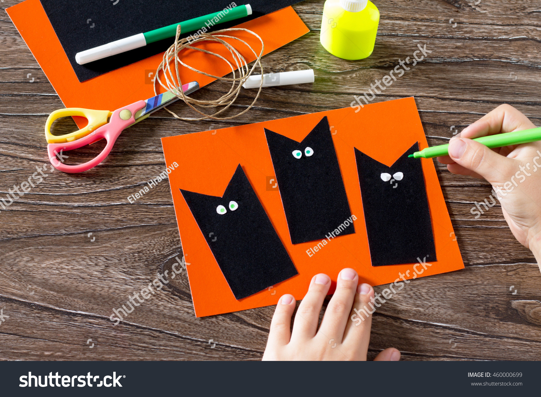 Child Create Greeting Card Halloween Black Stock Photo Edit Now
