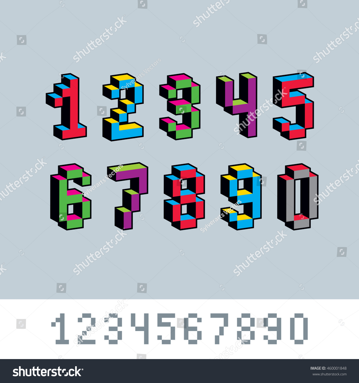 Royalty Free Stock Illustration of Digits Numerals Created 8 Bit ...