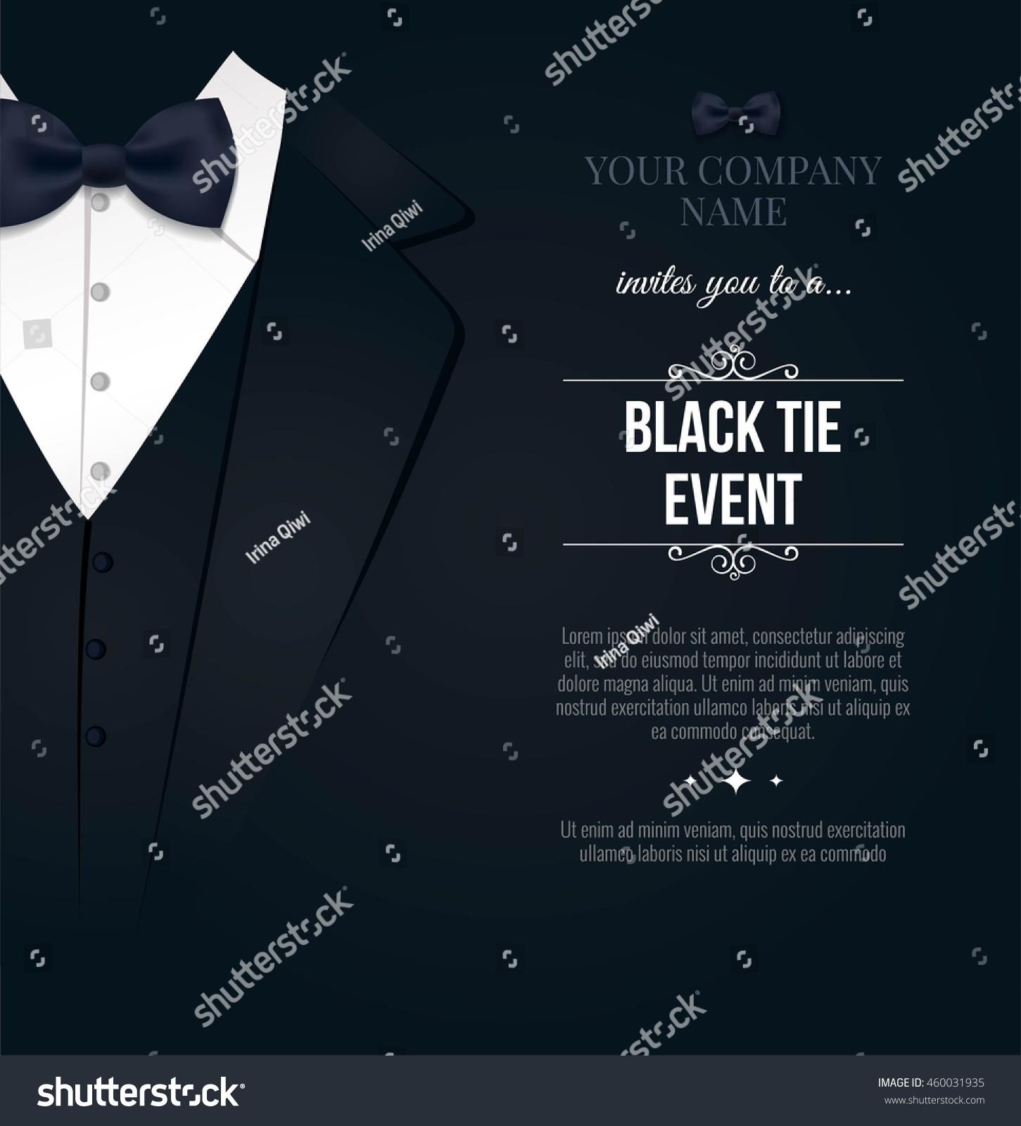 Black Tie Event Invitation Elegant Black Stock Vector 460031935 ...