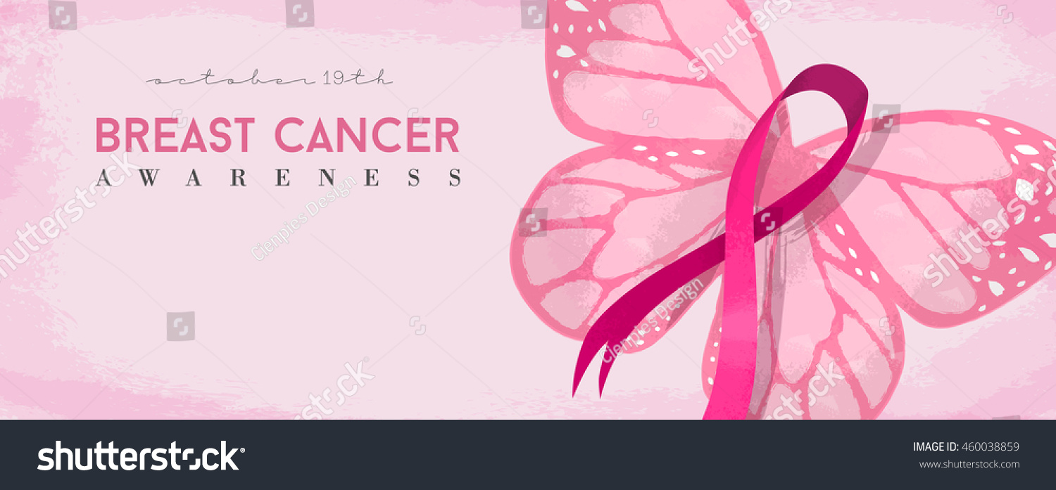Breast cancer day banner with pink butterfly and awareness ribbon illustration EPS10 vector