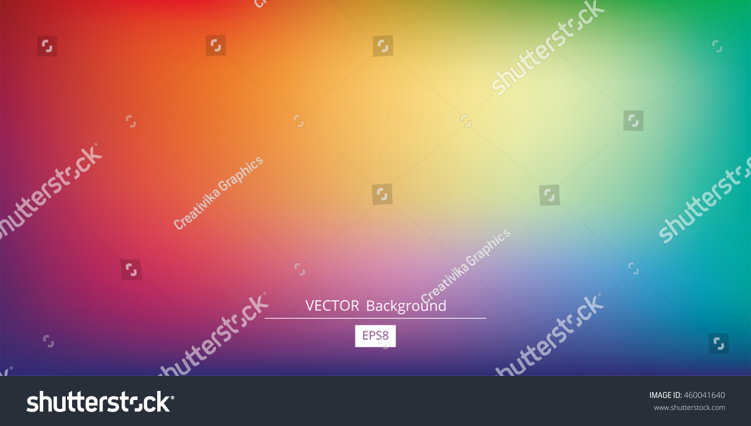 Abstract blurred gradient mesh background in bright rainbow colors. Colorful smooth banner template. Easy editable soft colored vector illustration in EPS8 without transparency. #460041640
