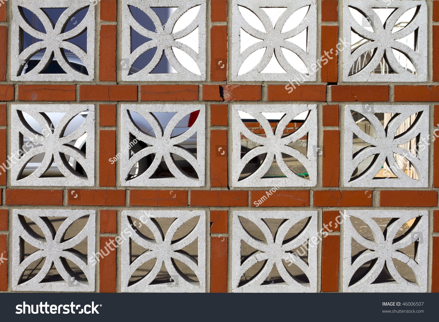 brick and decorative concrete block design fence as a background - Decorative Concrete Block
