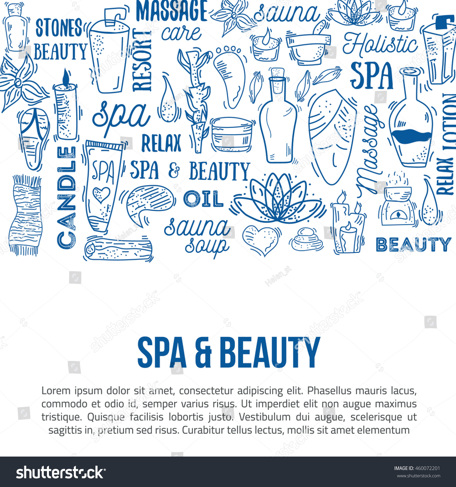 Vector Spa Care Doodle Design Elements Stock Vector 460072201