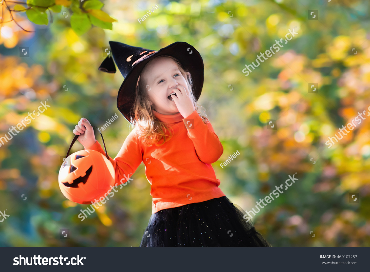 Little Girl Witch Costume Playing Autumn Stock Photo 460107253 ...