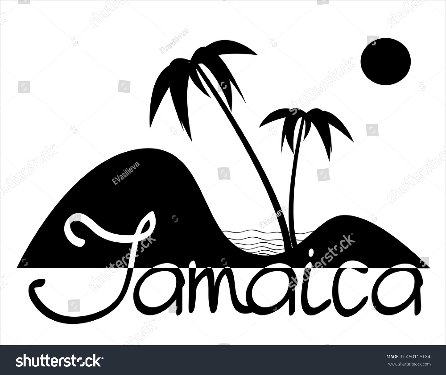 Jamaica black and white vector composition with palms sand and sea