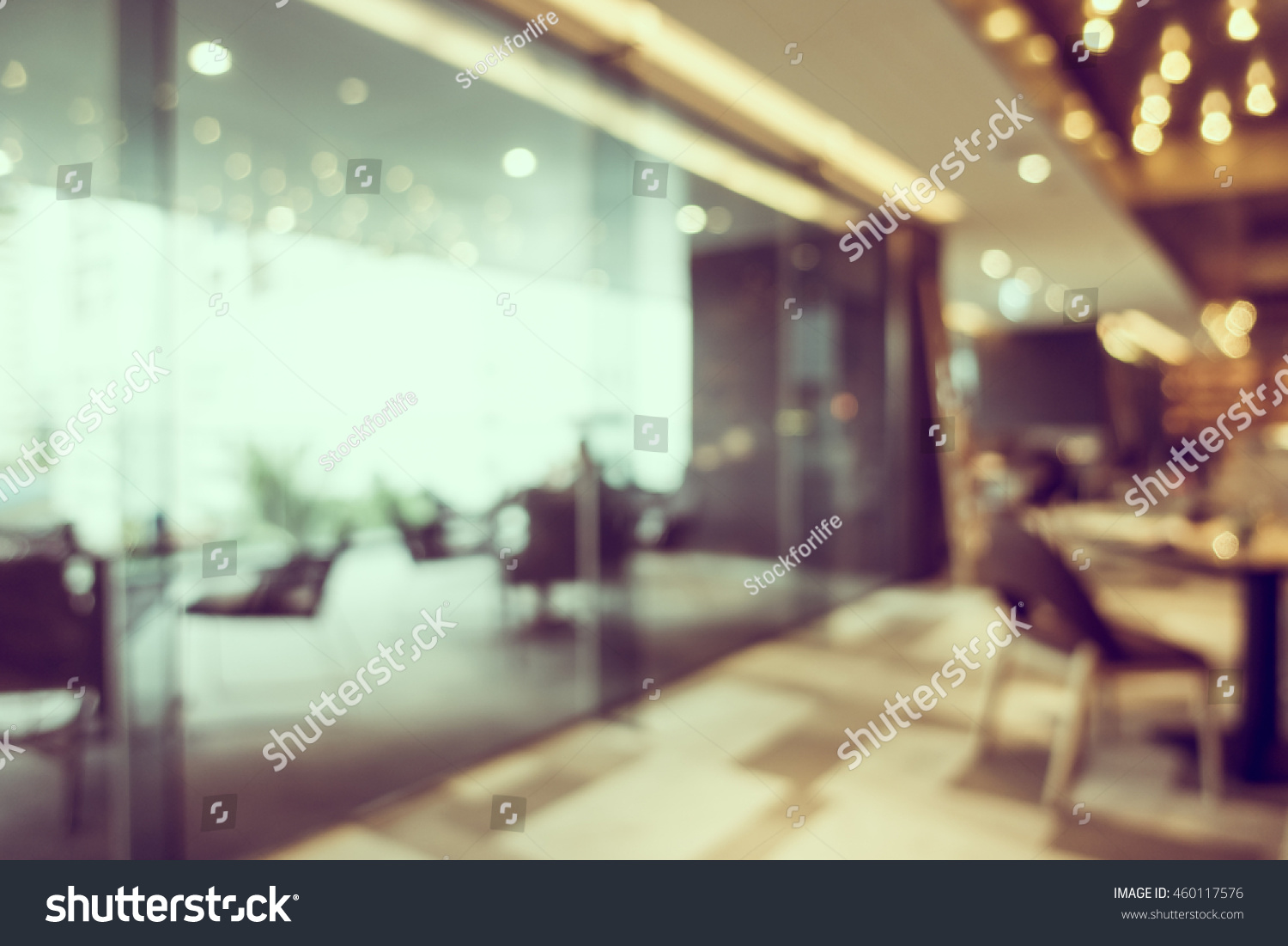 Abstract blur coffee shop restaurant interior stock photo