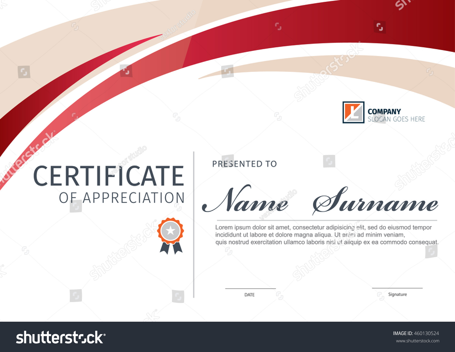 Vector Template Certificate Diploma Stock Vector Royalty Free