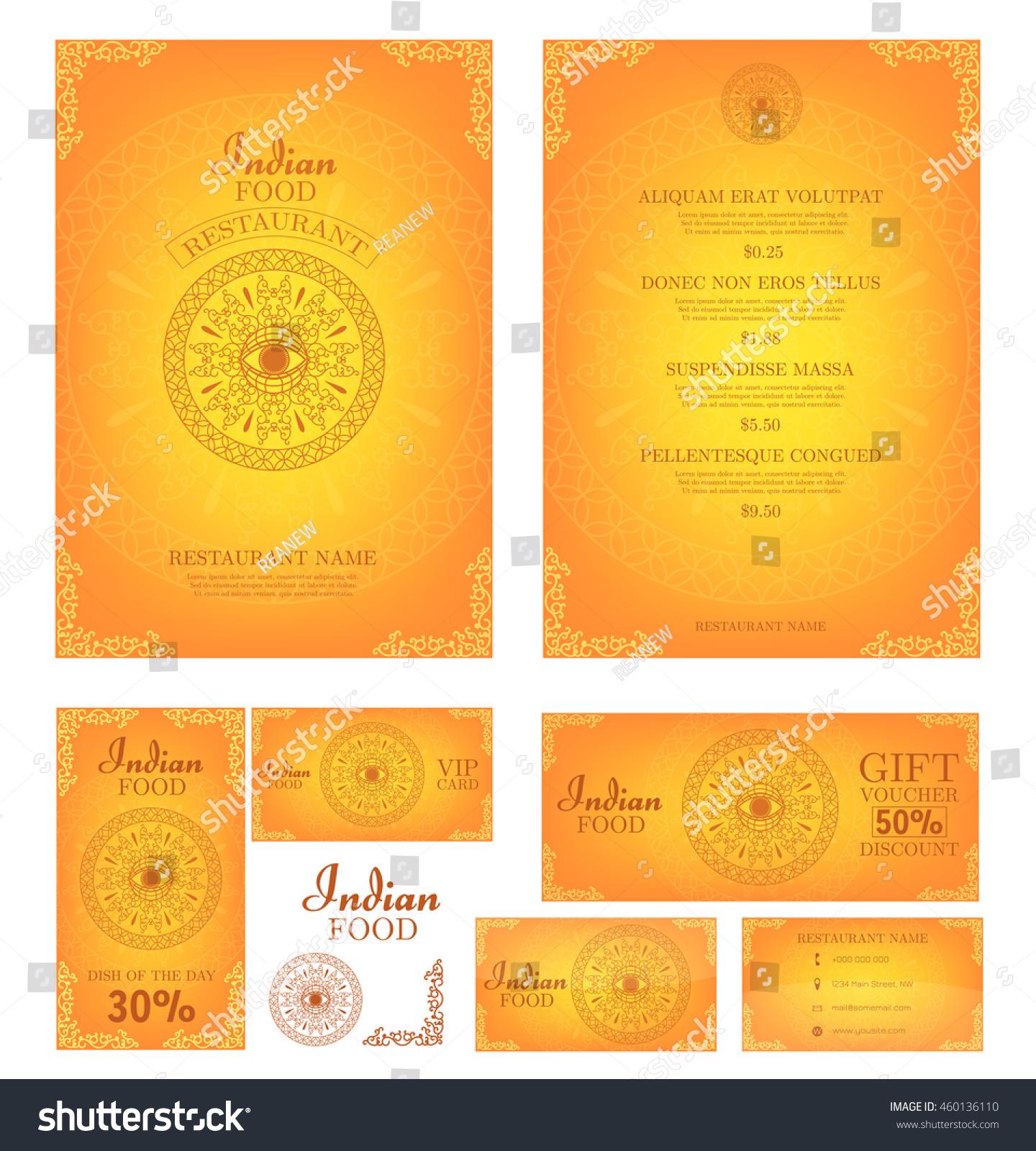 Indian Food Restaurant Menu Template Food Stock Vector 460136110 ...