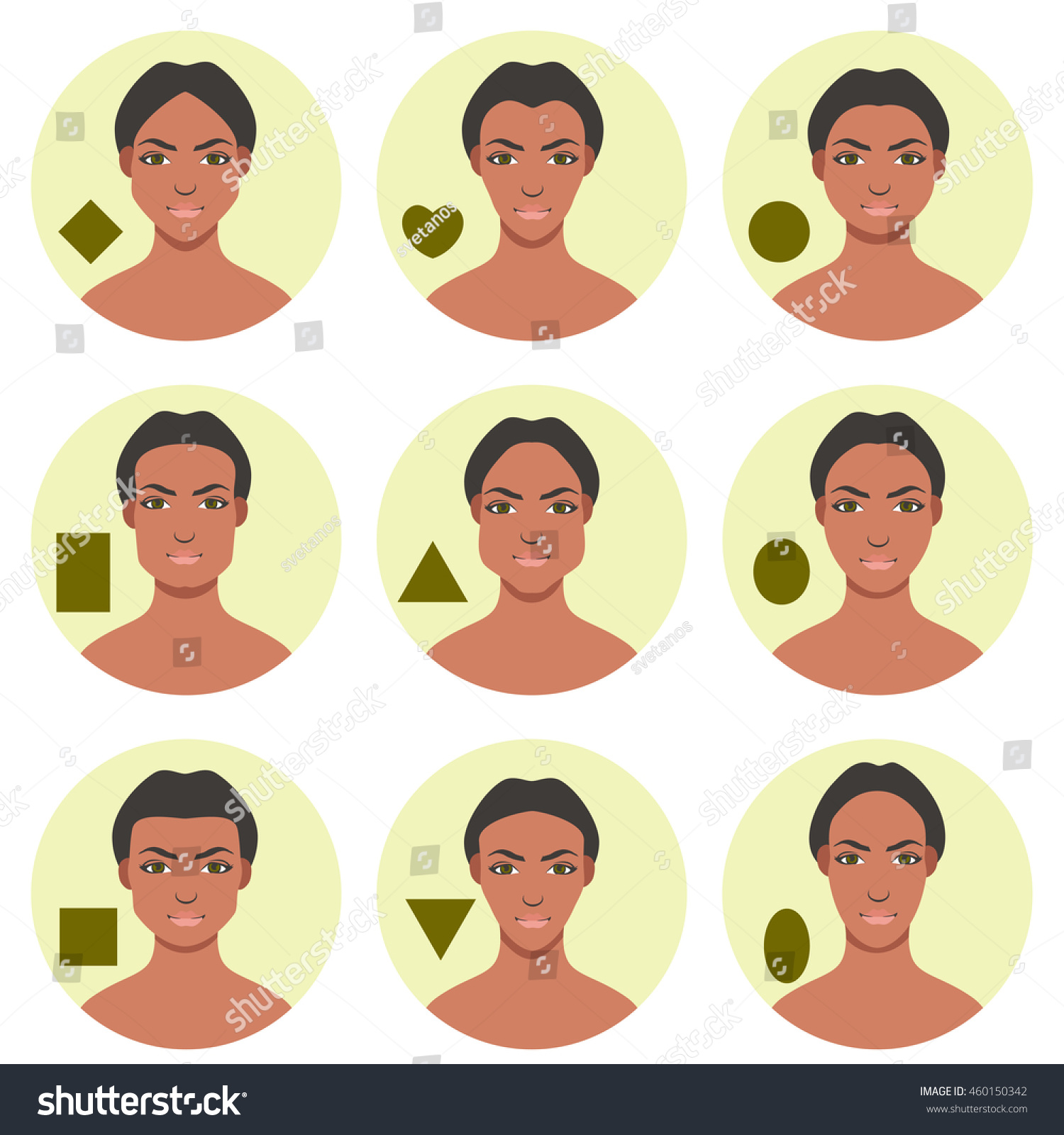 Set different face shapes nine female stock vector 460150342 set of different face shapes nine female face forms square v triangle urmus Image collections