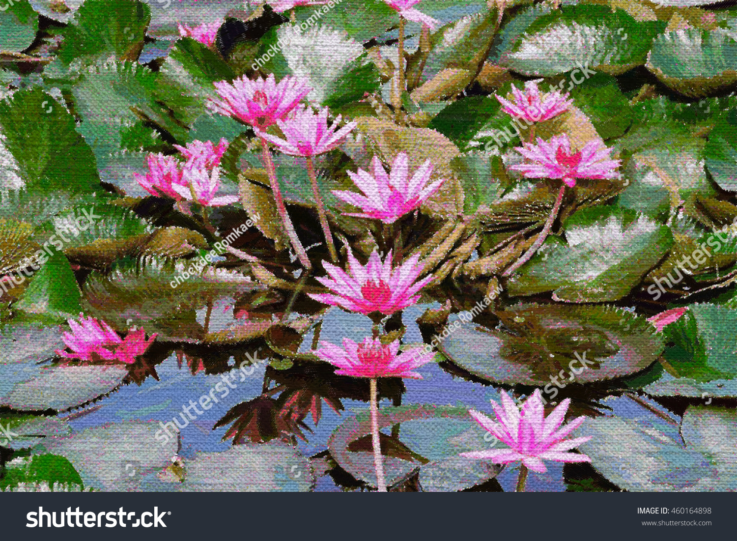 Color Pencil Drawing Lotus Flower Leaf Stock Illustration 460164898