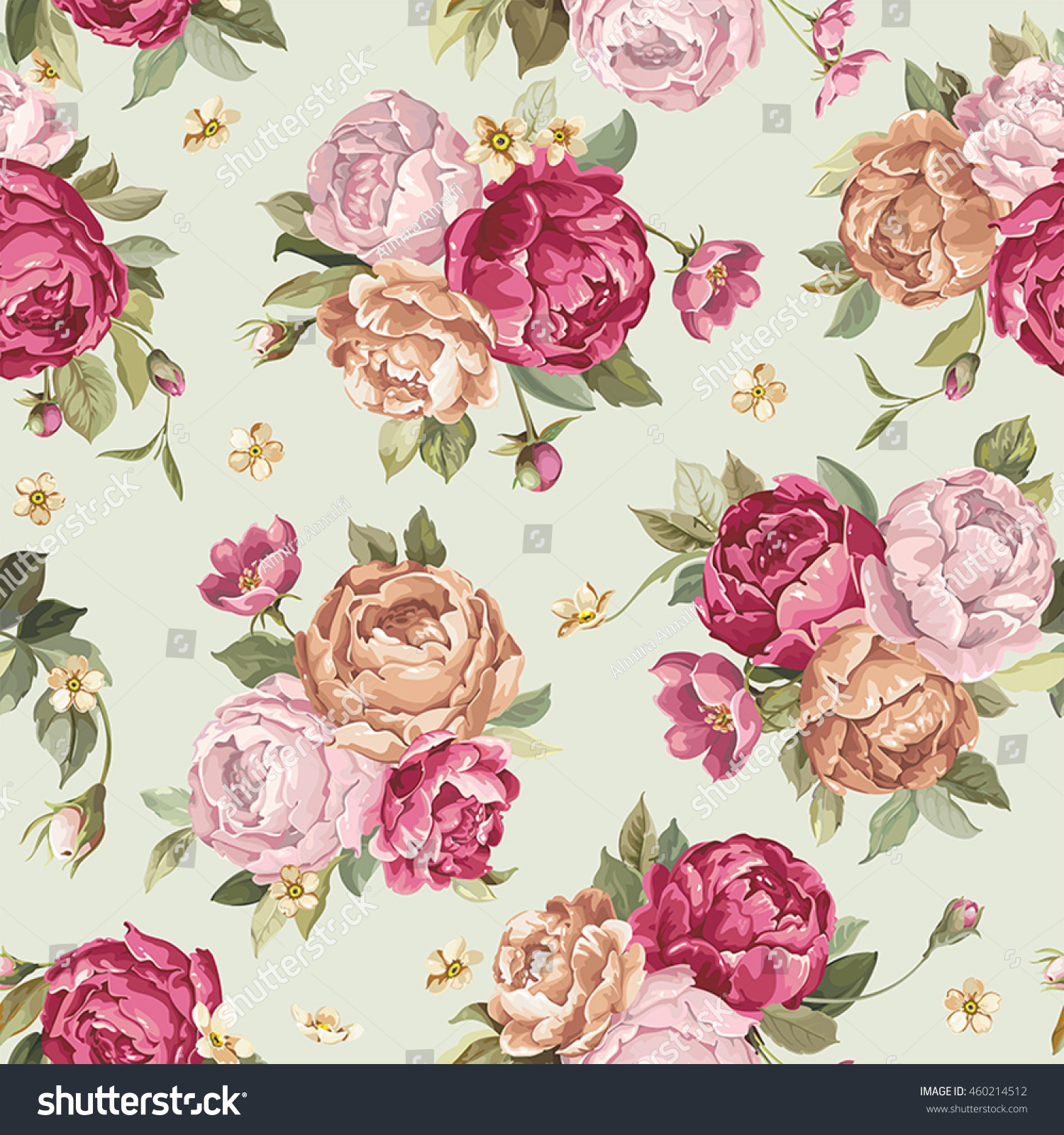 Elegance seamless pattern with flowers peony eps8
