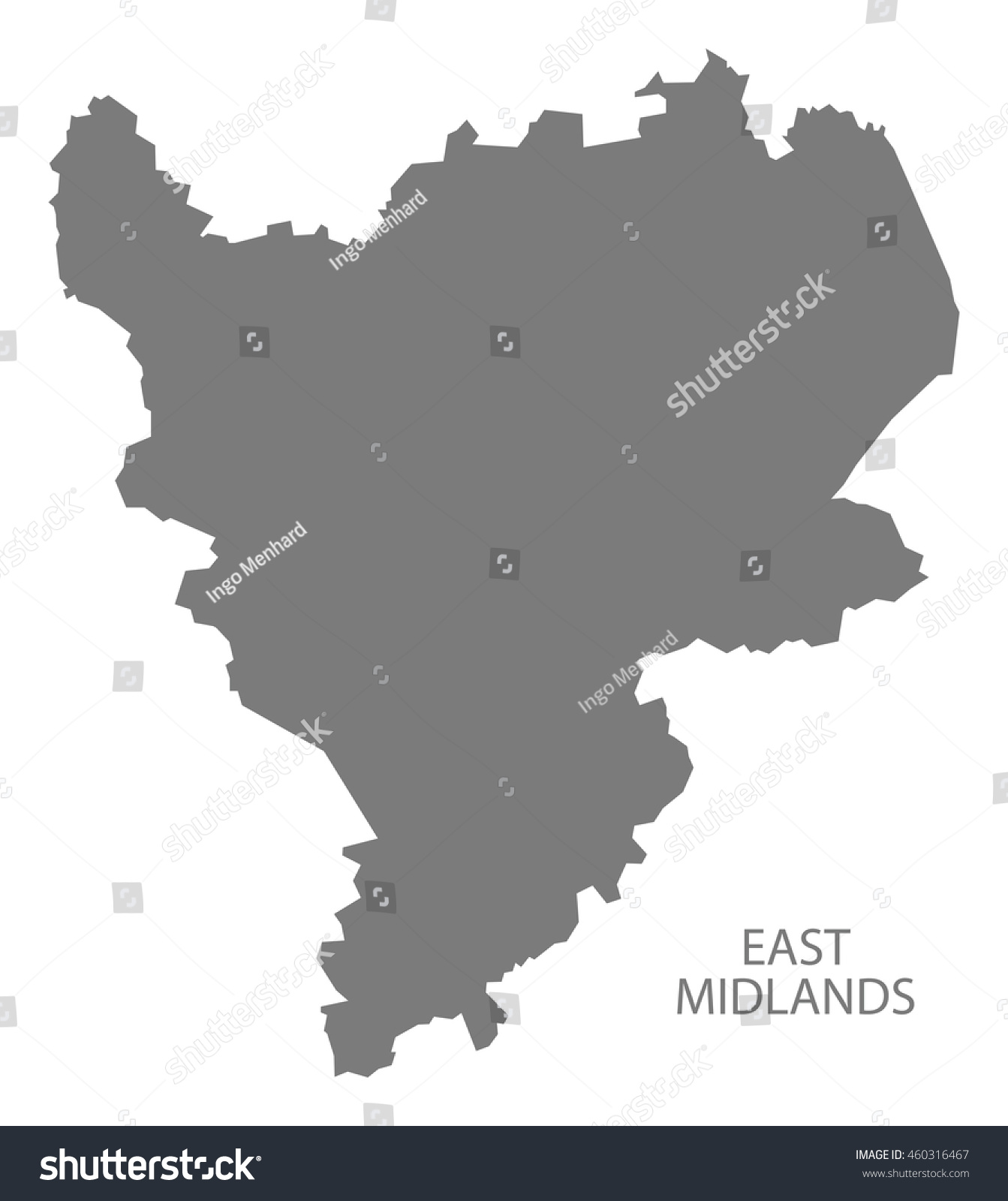 East Midlands England Map Grey Stock Vector Royalty Free 460316467