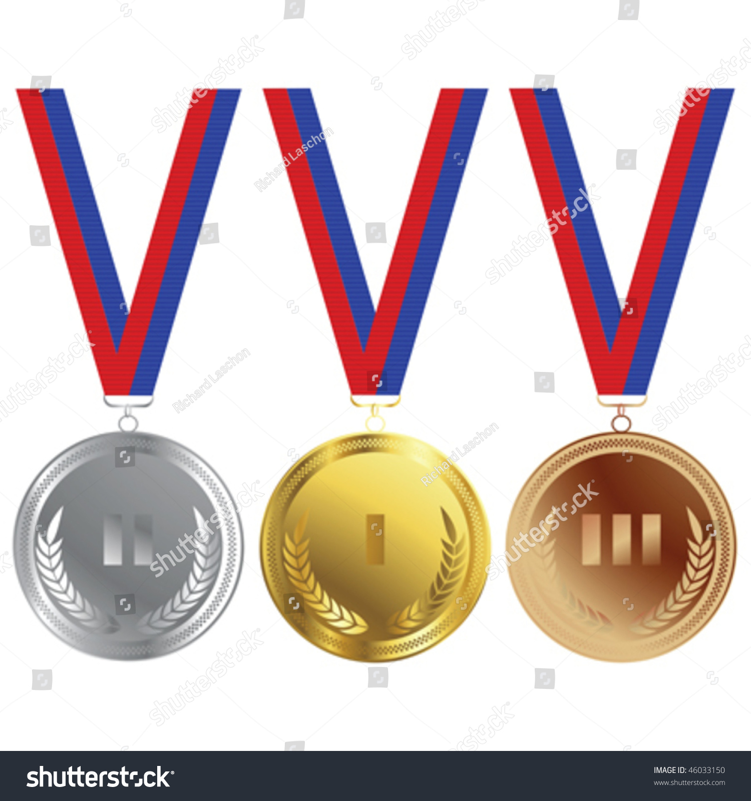 Three Medals Gold Silver Bronze Olympics Stock Vector 46033150 ...