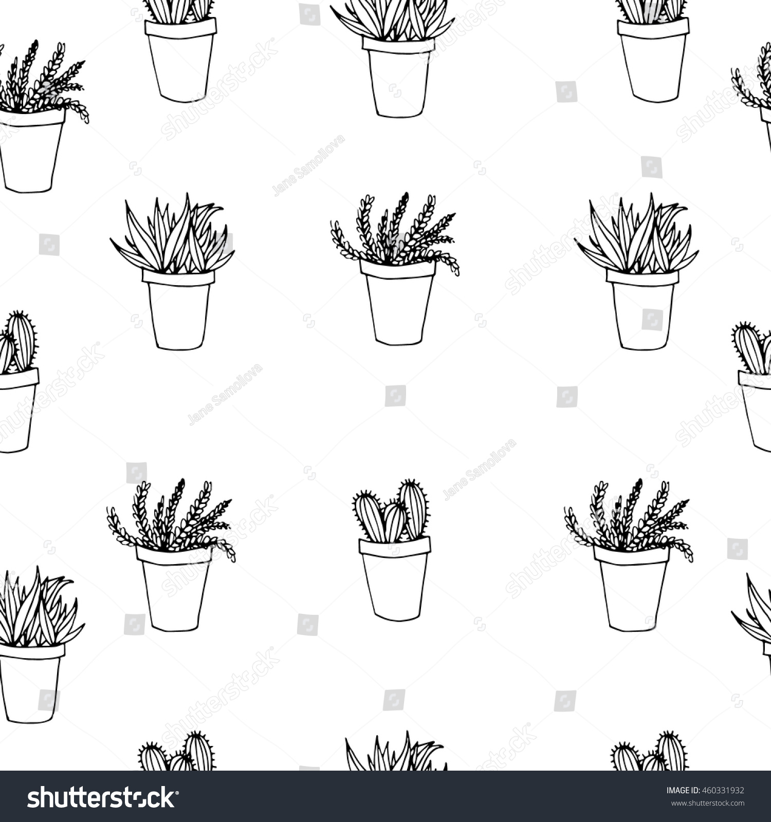 Black and white flower pots - Seamless Background Vector Pattern With Isolated Black And White Flower Pots For Your Design