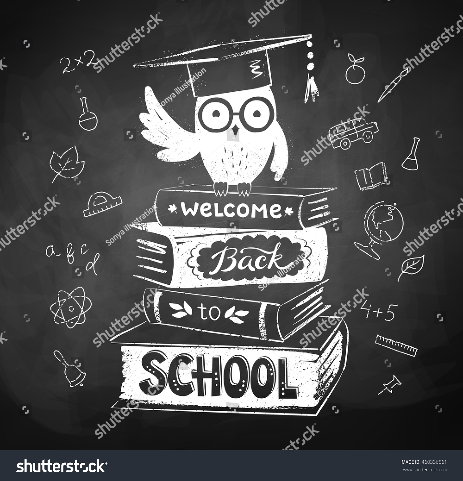 Vector Illustration Of Apple On Books With Welcome Back To School.. Royalty  Free Cliparts, Vectors, And Stock Illustration. Image 60667155.