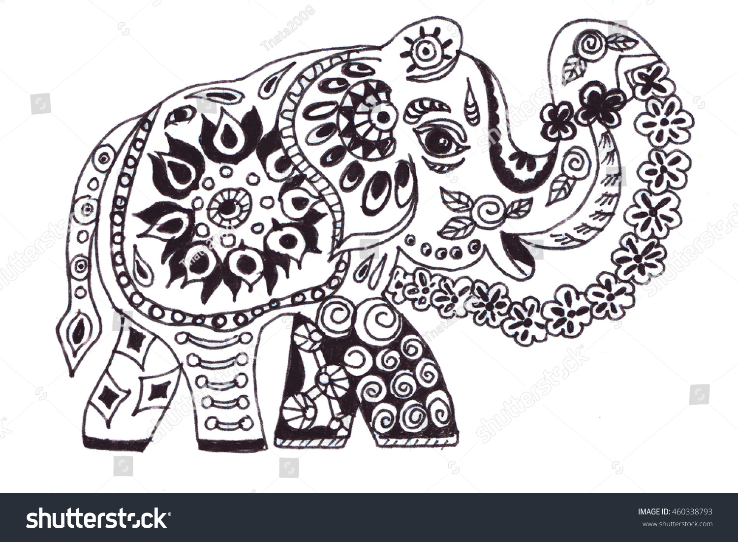 Illustration Drawn By Hand Outline Elephant Filled With And Floral Designs