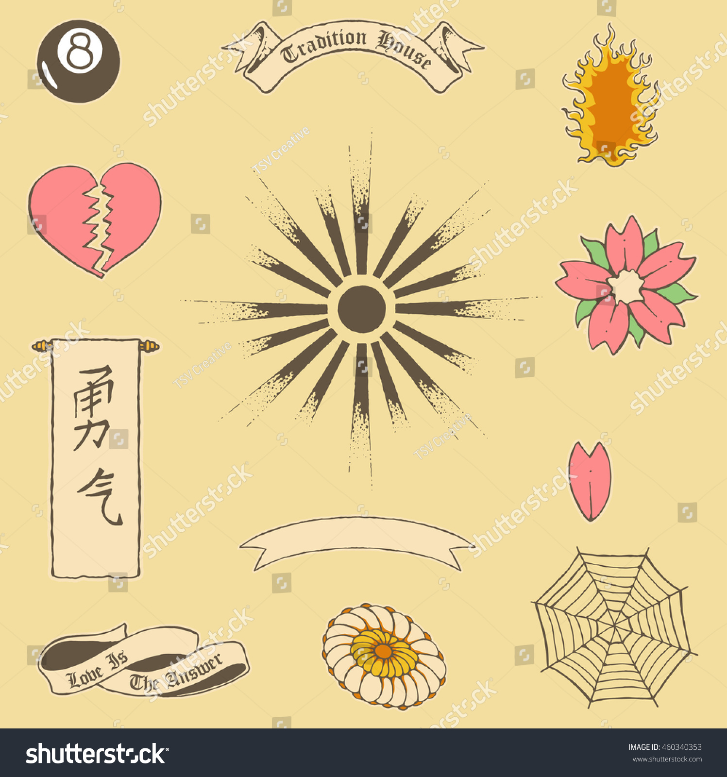 Vector Illustration Japanese Various Objects Heart Stock Vector