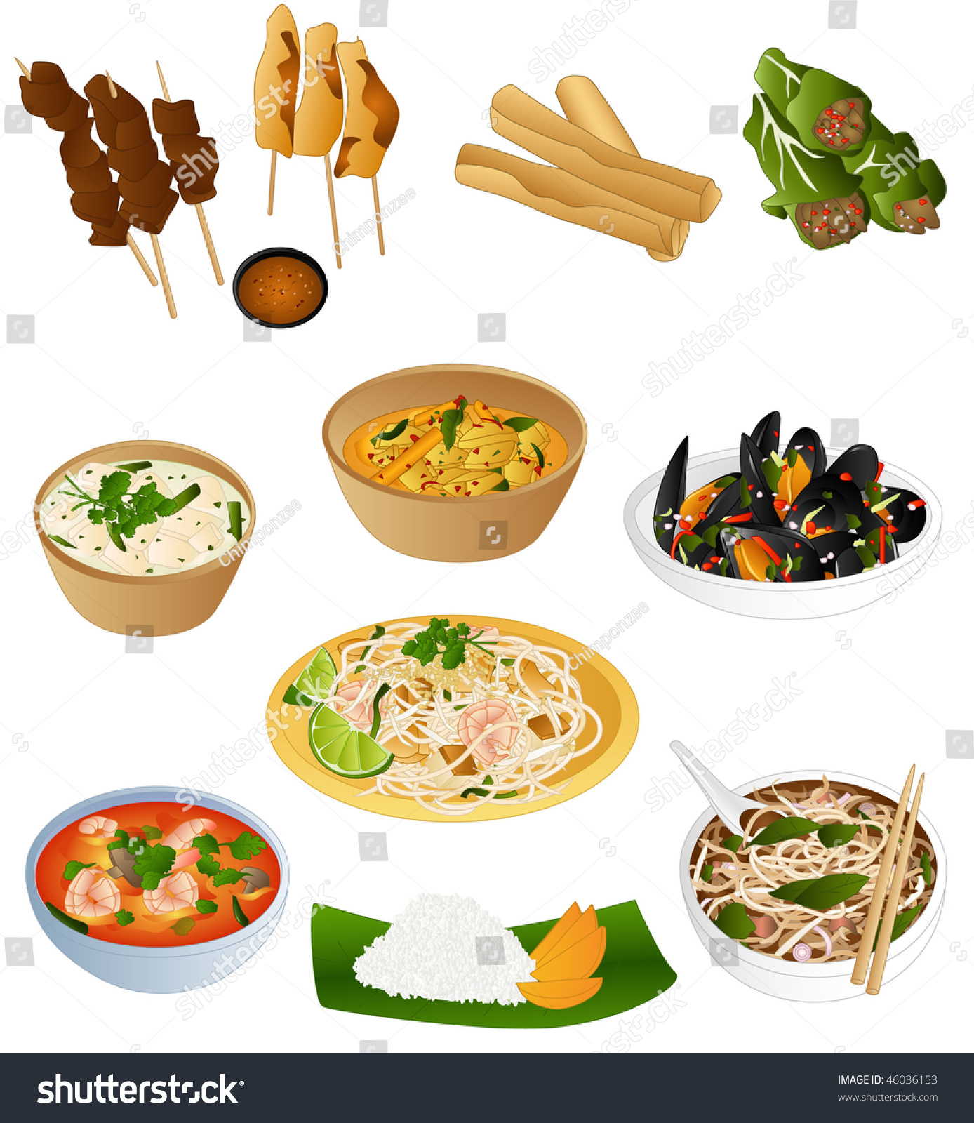 South East Asian Prepared Food Stock Vector 46036153
