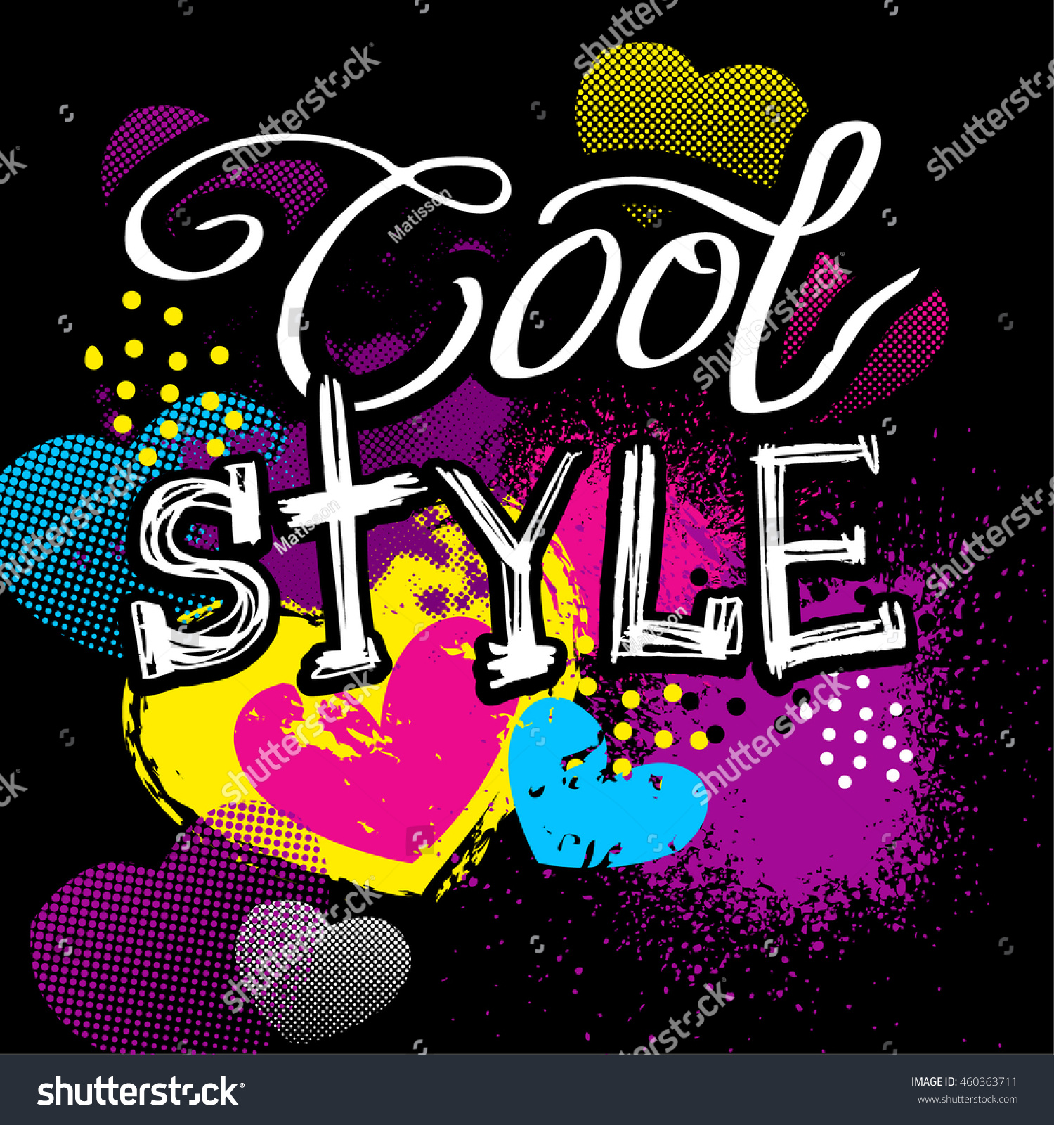 cool style to print t shirts hand lettering background with pink hearts and