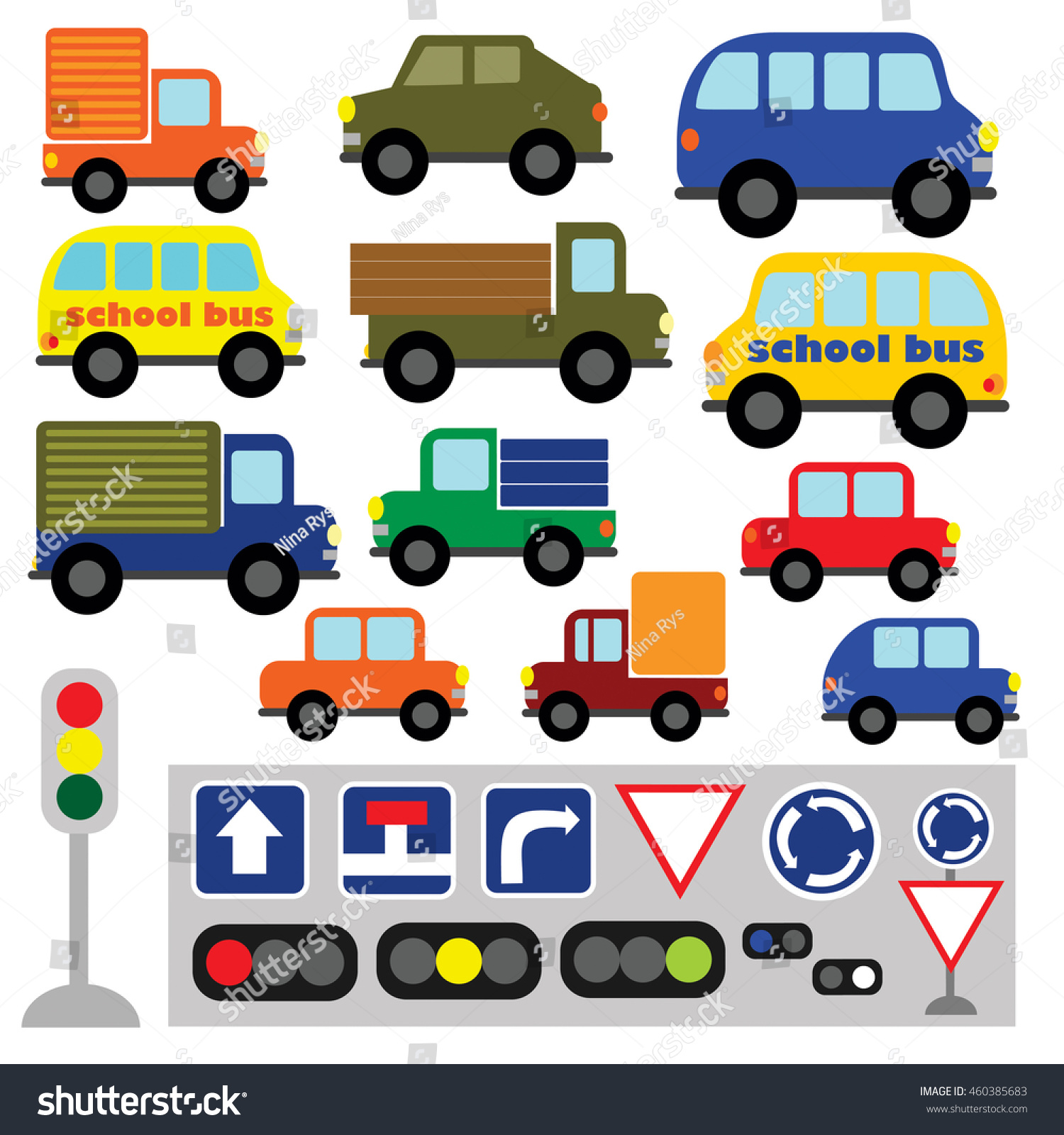 Vector set of funny transport. Multicolored cars, trucks, buses, road sign, semaphore, traffic light