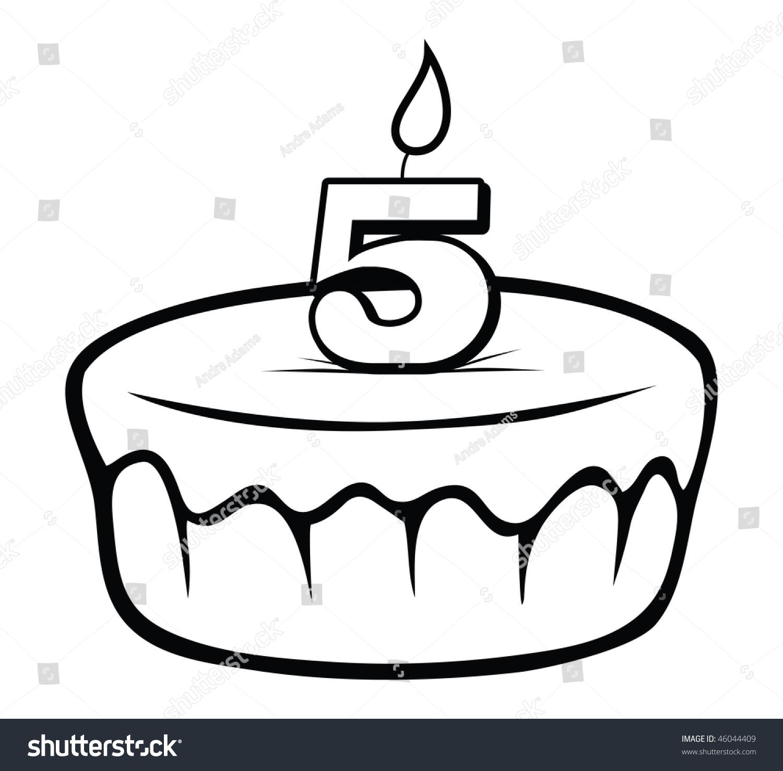 Cartoon Vector Outline Illustration Birthday Cake Stock Vector 46044409