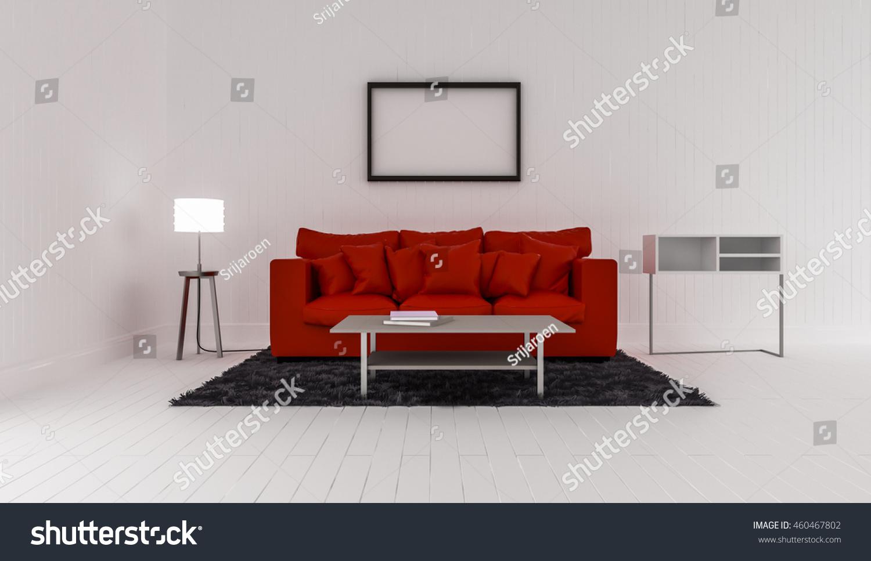3D Rendering Of Interior Modern Room Includes Red Sofa, Floor Lamp,  Shelves, Carpet