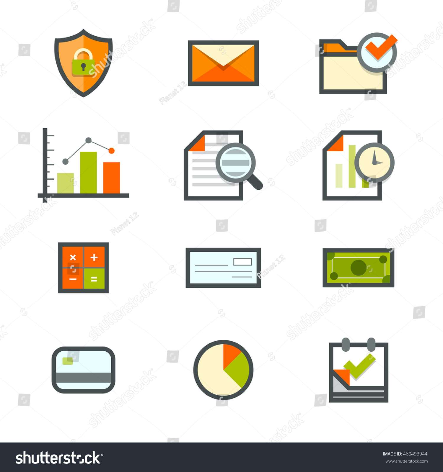 Accounting icons security email mail files stock vector 460493944 accounting icons for security email mail files graphs forensic time geenschuldenfo Images