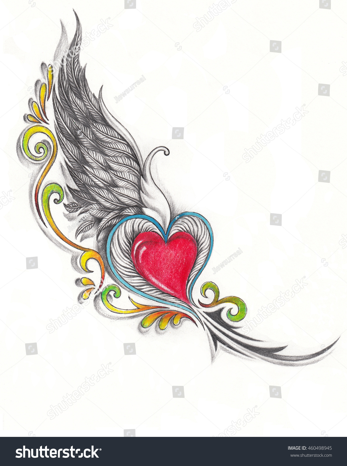 Wing heart tattoo design hand pencil drawing on paper