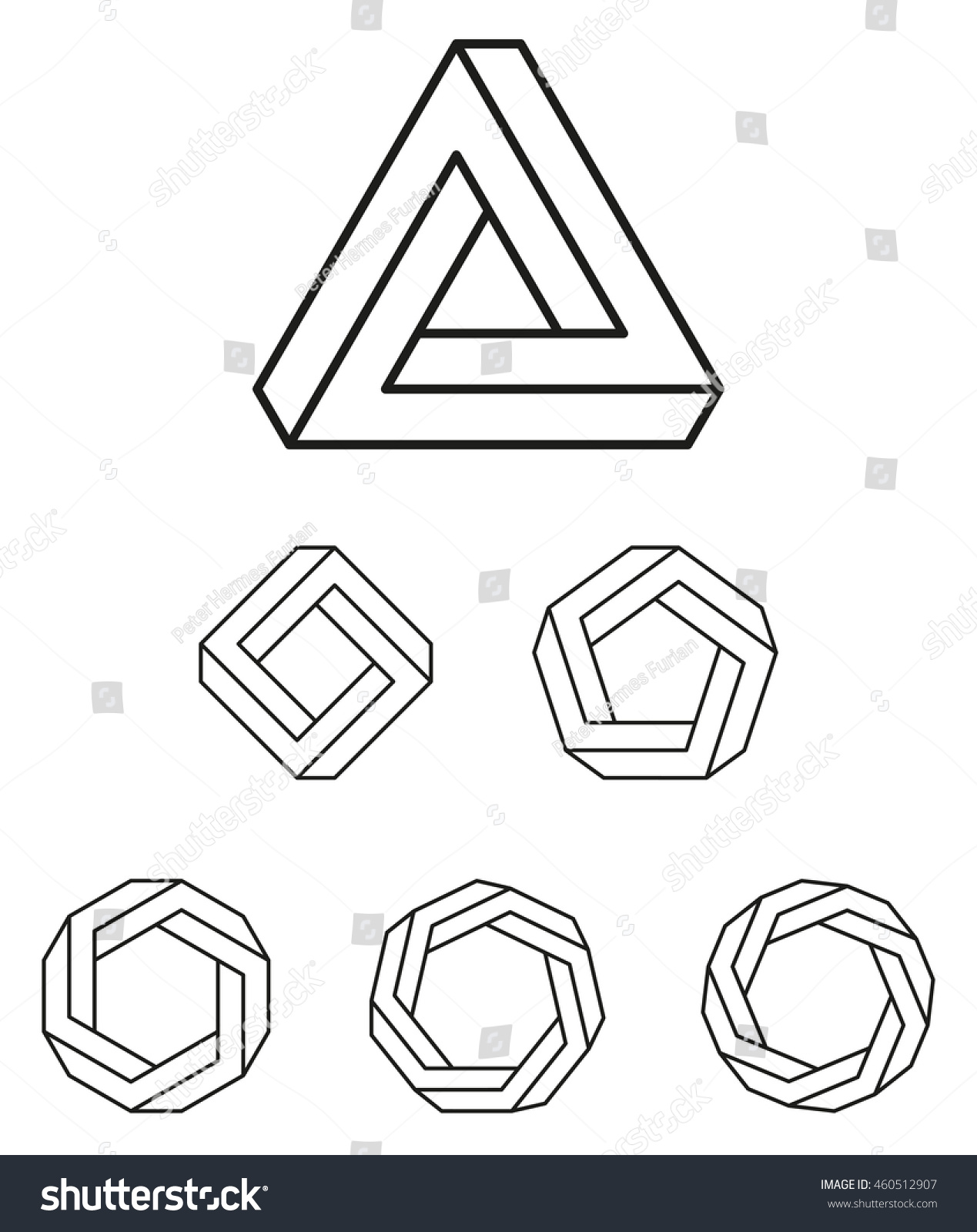 Penrose Triangle And Polygons Outline The Penrose Tribar, An Impossible  Object, Appears To
