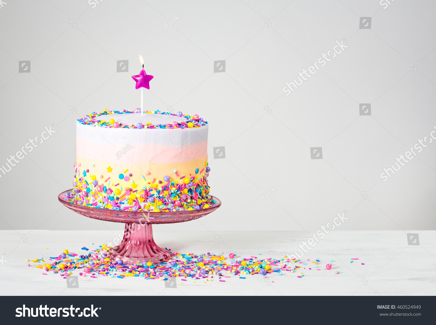 Birthday Cake Star Candle Colorful Sprinkles Stock Photo Edit Now