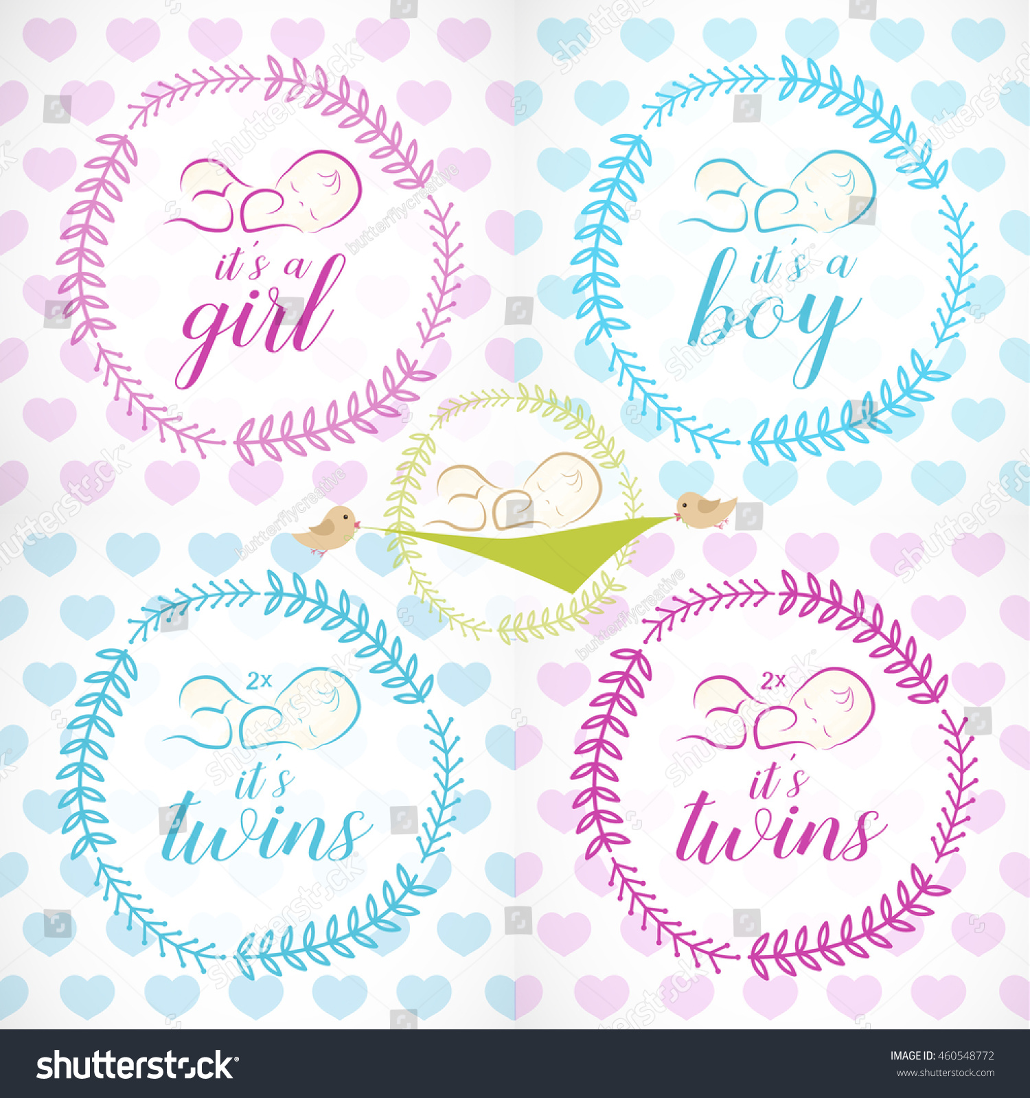 Cute Baby Girl Boy Twins Design Stock Vector Shutterstock