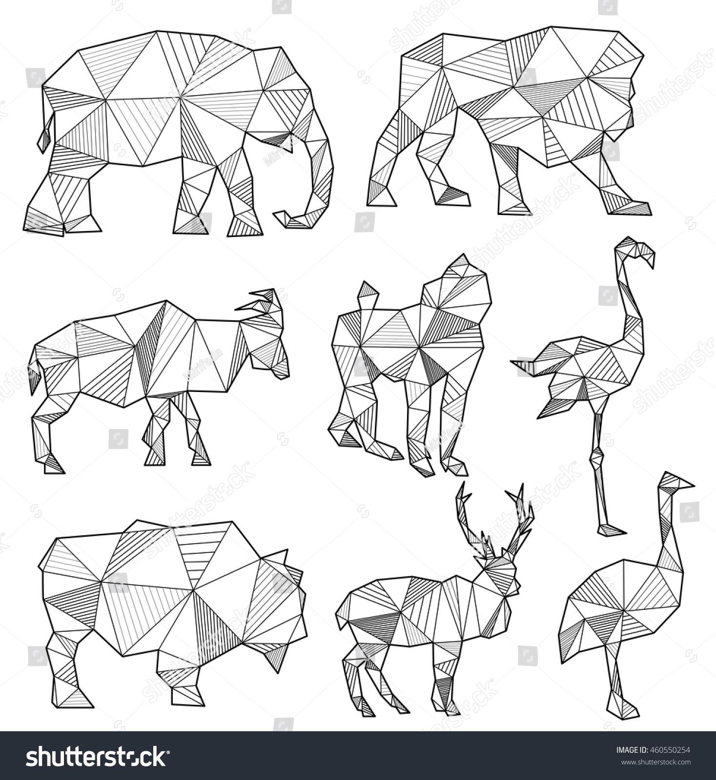 Vector Set Of Origami Animal Silhouettes Elephant Lion Goat Monkey Flamingo