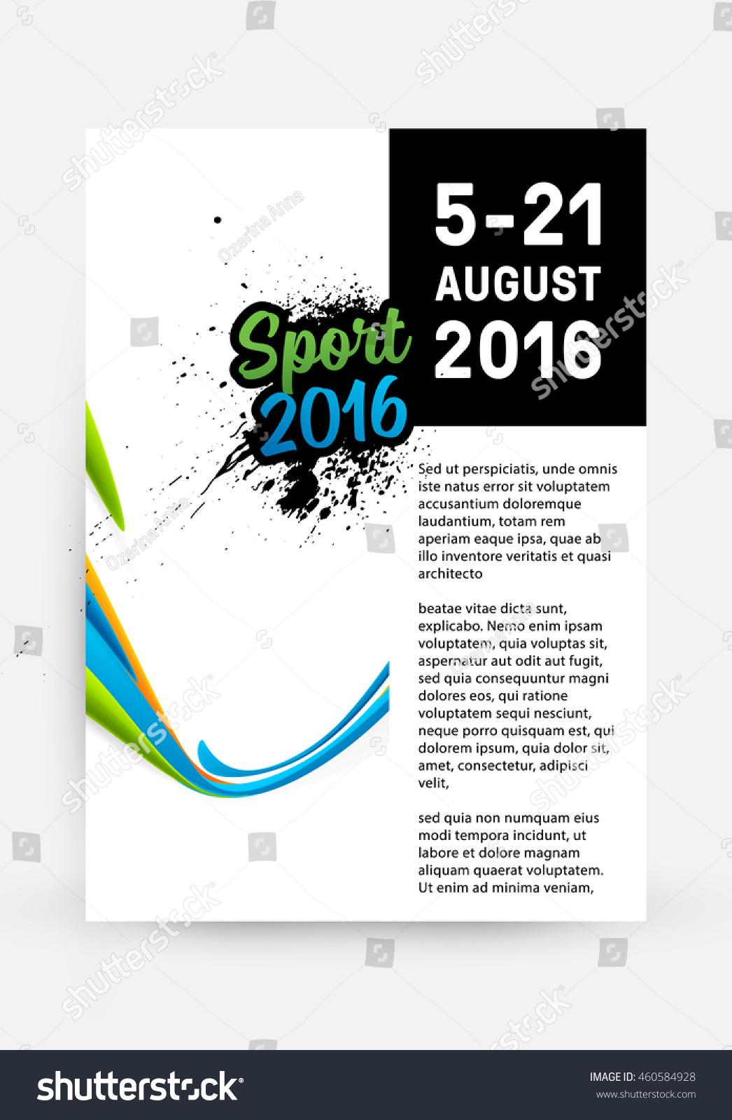 brochure website templates - summer sport 2016 concept template design stock vector