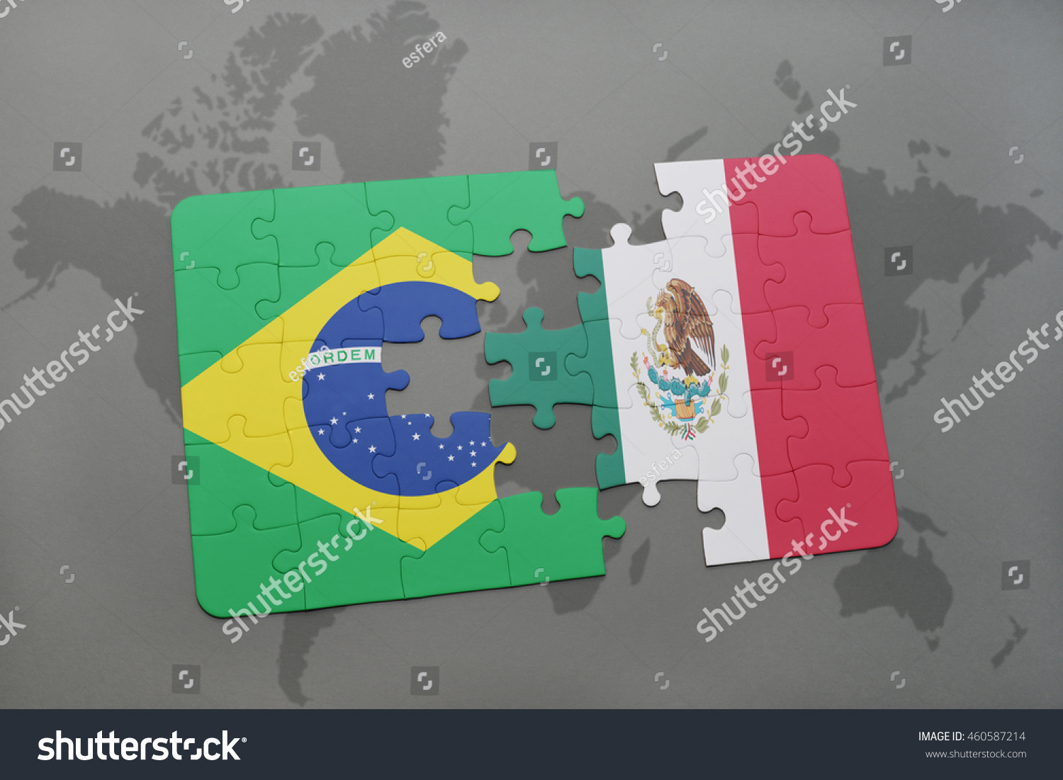 Puzzle national flag brazil mexico on stock illustration 460587214 puzzle with the national flag of brazil and mexico on a world map background 3d gumiabroncs Image collections
