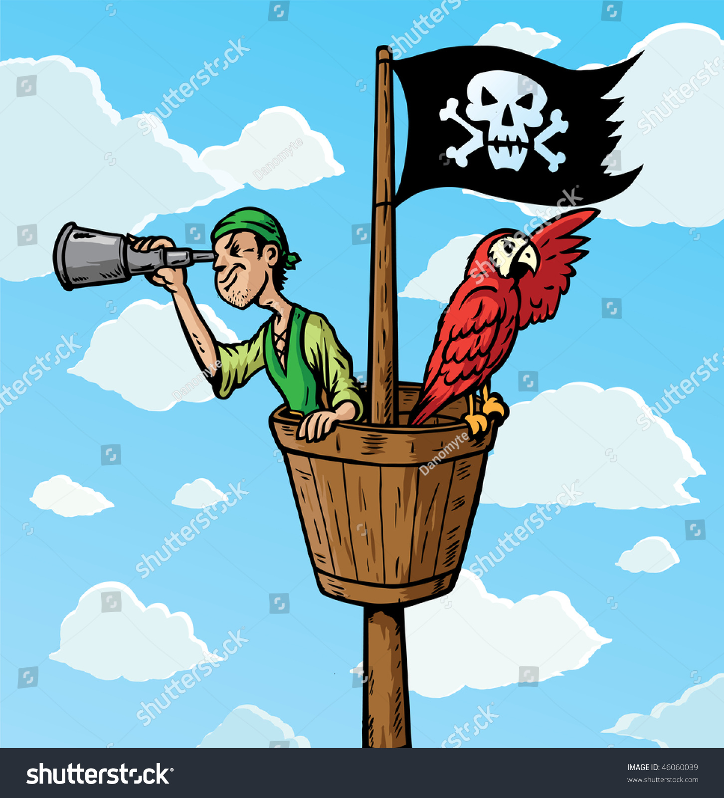 Cartoon Pirate Scout Parrot On...