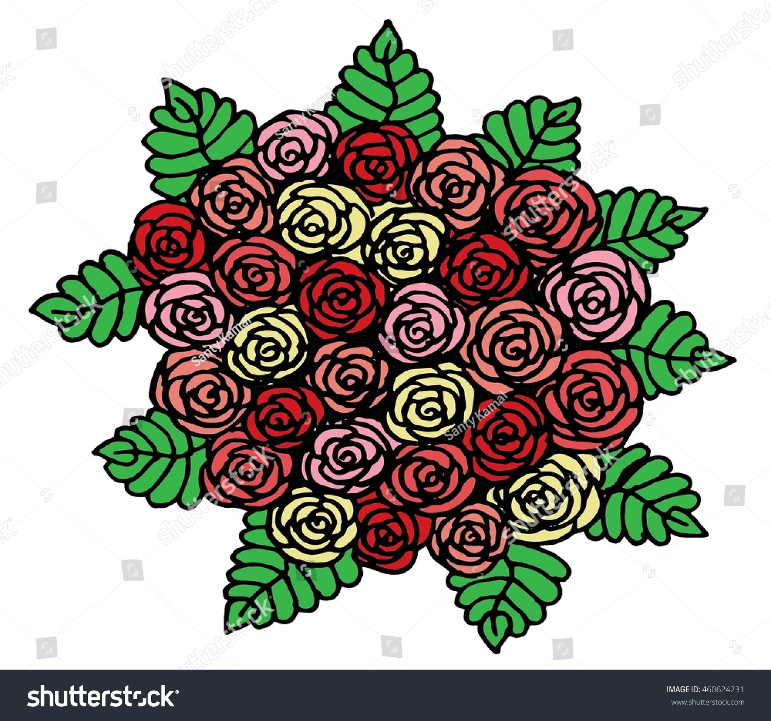 Bouquet Red Pink Roses Hand Drawing Stock Vector 460624231 ...
