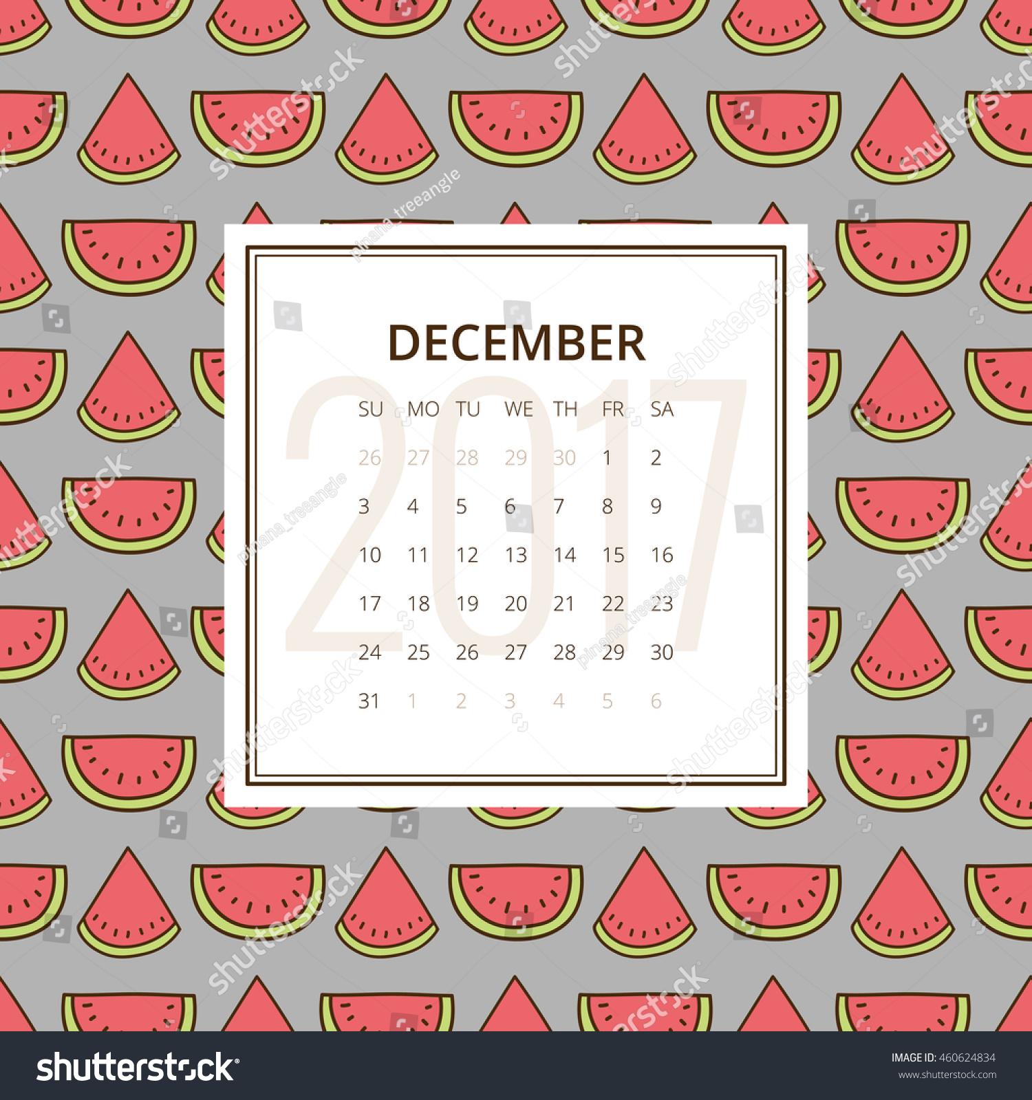 December 2017 One Month Calendar Vector Stock Vector Royalty Free