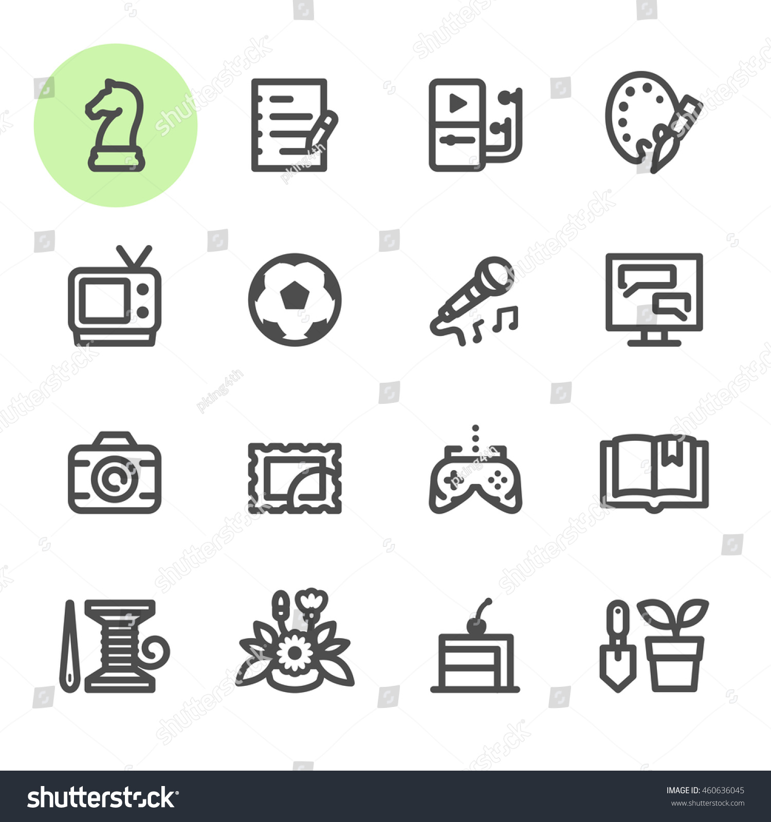 hobbies icons white background stock vector 460636045